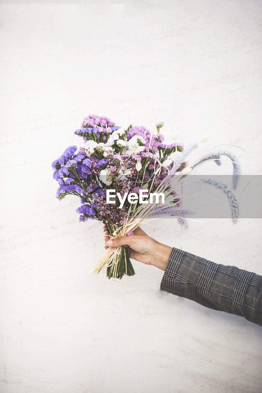flowering plant, flower, one person, plant, flower arrangement, bouquet, holding, hand, human hand, real people, nature, human body part, fragility, beauty in nature, freshness, vulnerability, women, adult, indoors, flower head, bunch of flowers, purple
