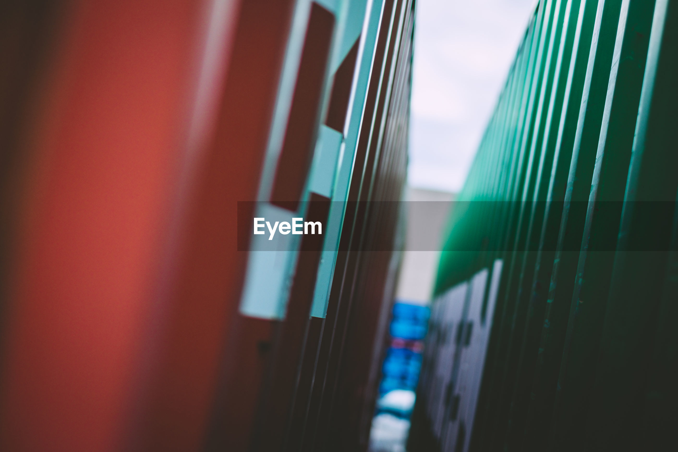 Close-up of cargo container at commercial dock