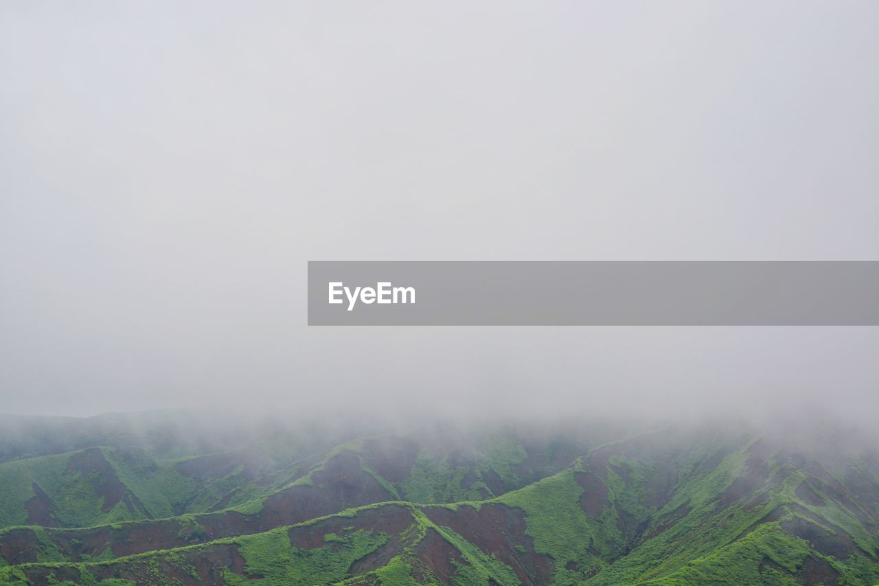 fog, beauty in nature, tranquil scene, scenics - nature, environment, tranquility, landscape, sky, non-urban scene, plant, nature, idyllic, tree, land, copy space, mountain, day, no people, hazy, outdoors