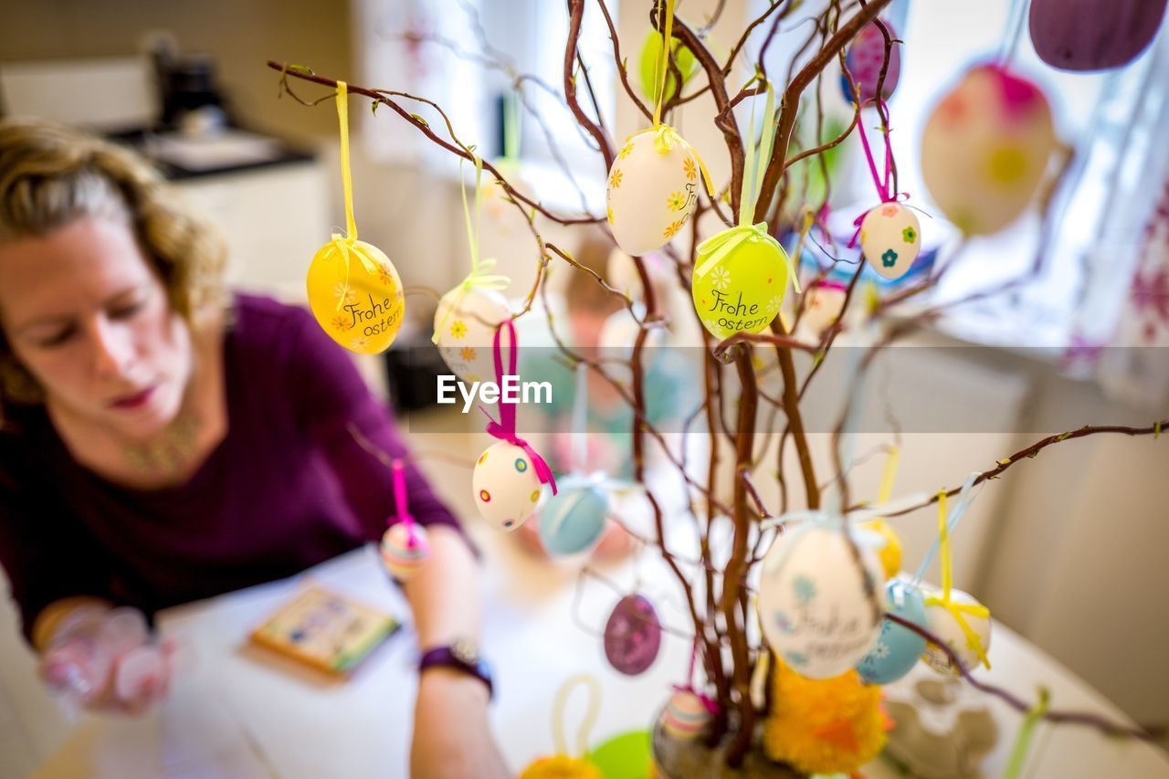 Close-Up Of Hanging Easter Eggs