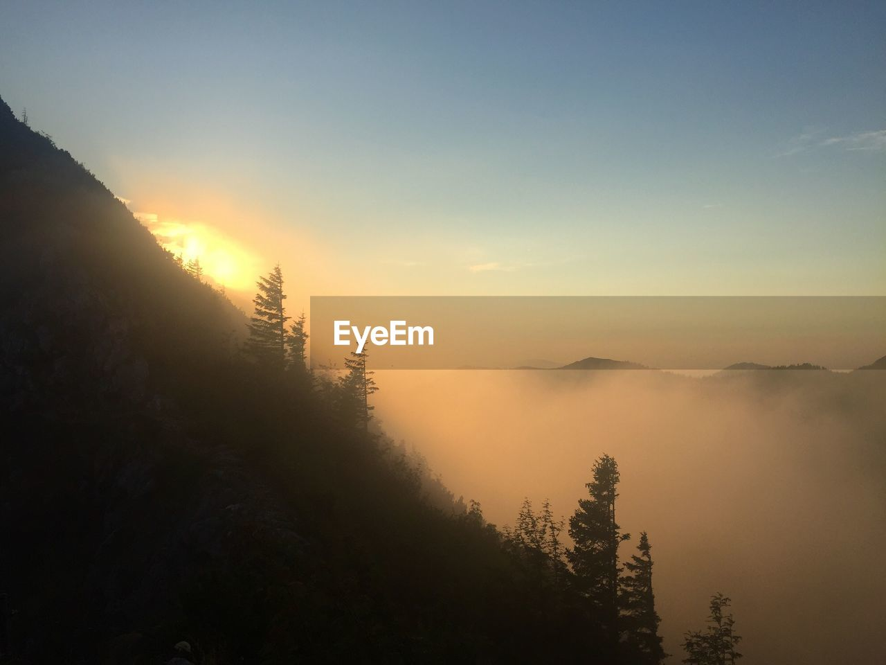 sky, tranquility, tranquil scene, scenics - nature, beauty in nature, mountain, sunset, tree, fog, nature, non-urban scene, no people, idyllic, plant, sun, mountain range, environment, silhouette, landscape, outdoors, hazy