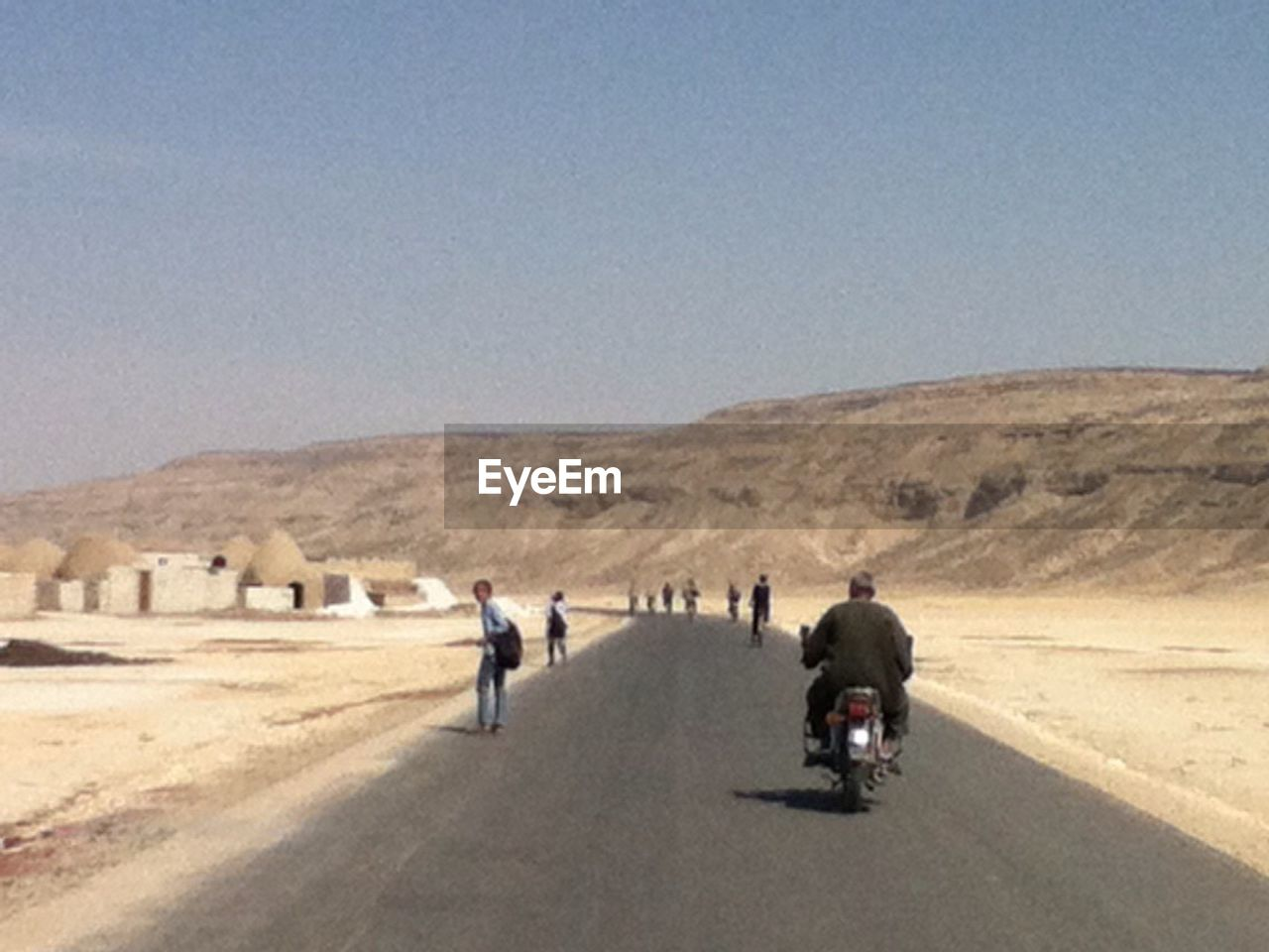 desert, landscape, road, arid climate, motorcycle, transportation, day, outdoors, riding, clear sky, biker, men, nature, sky, people, adults only, adult