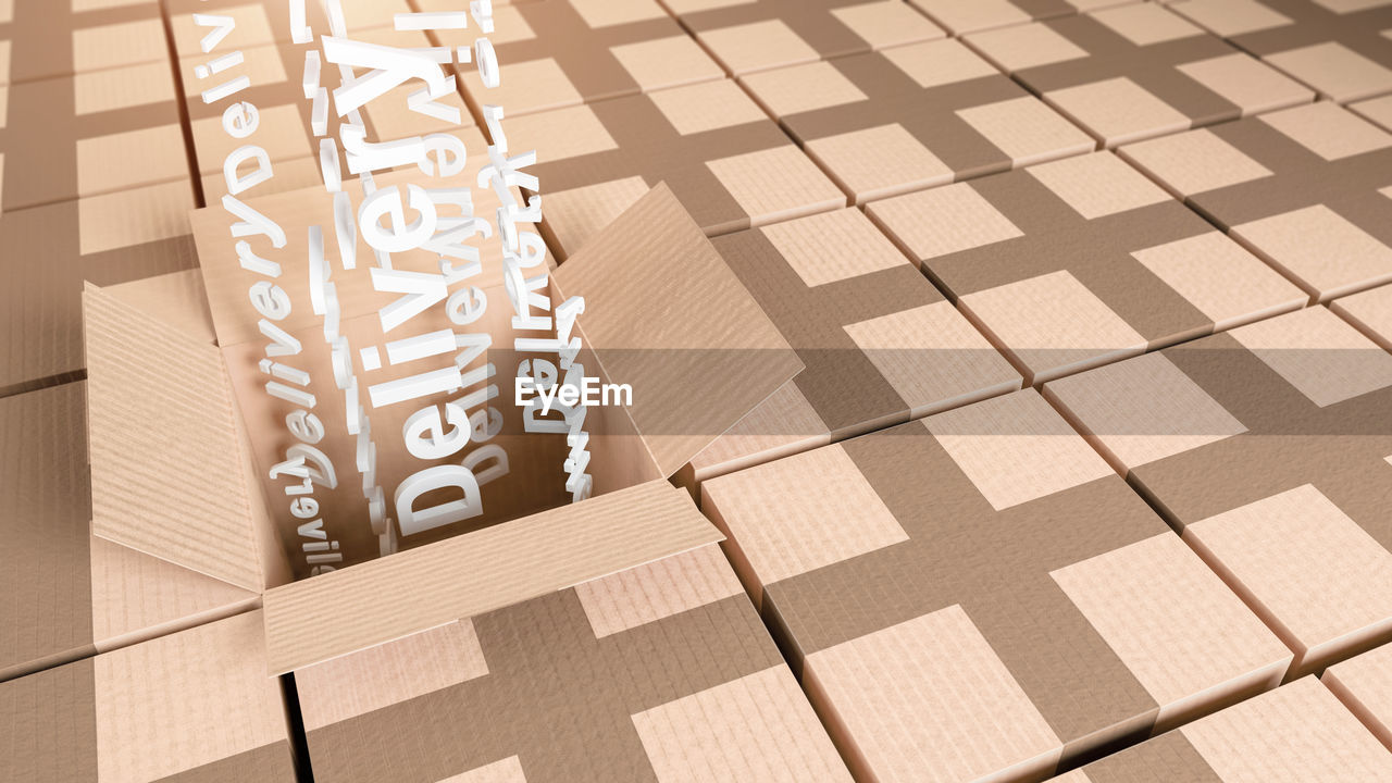High angle view of text in cardboard box