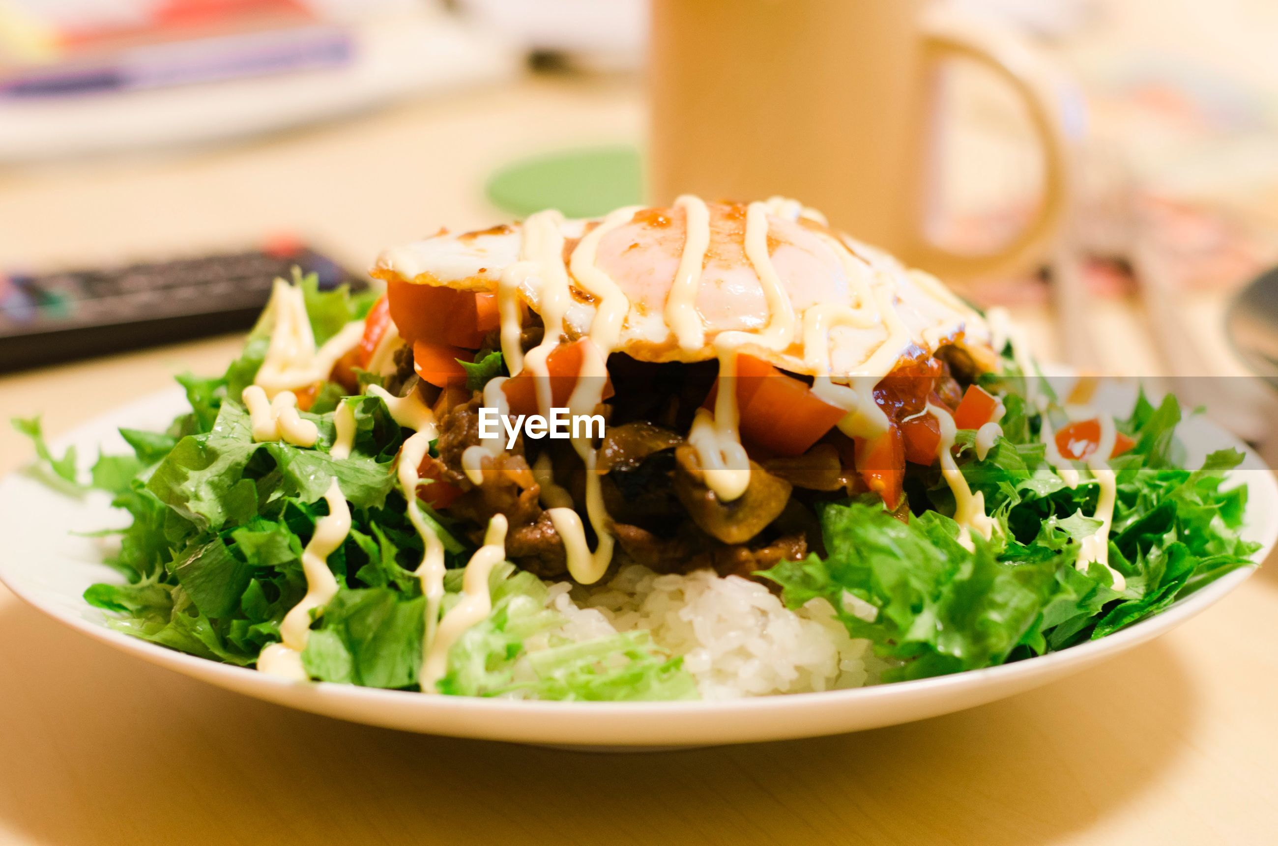 Close-up of taco rice salad in plate on table
