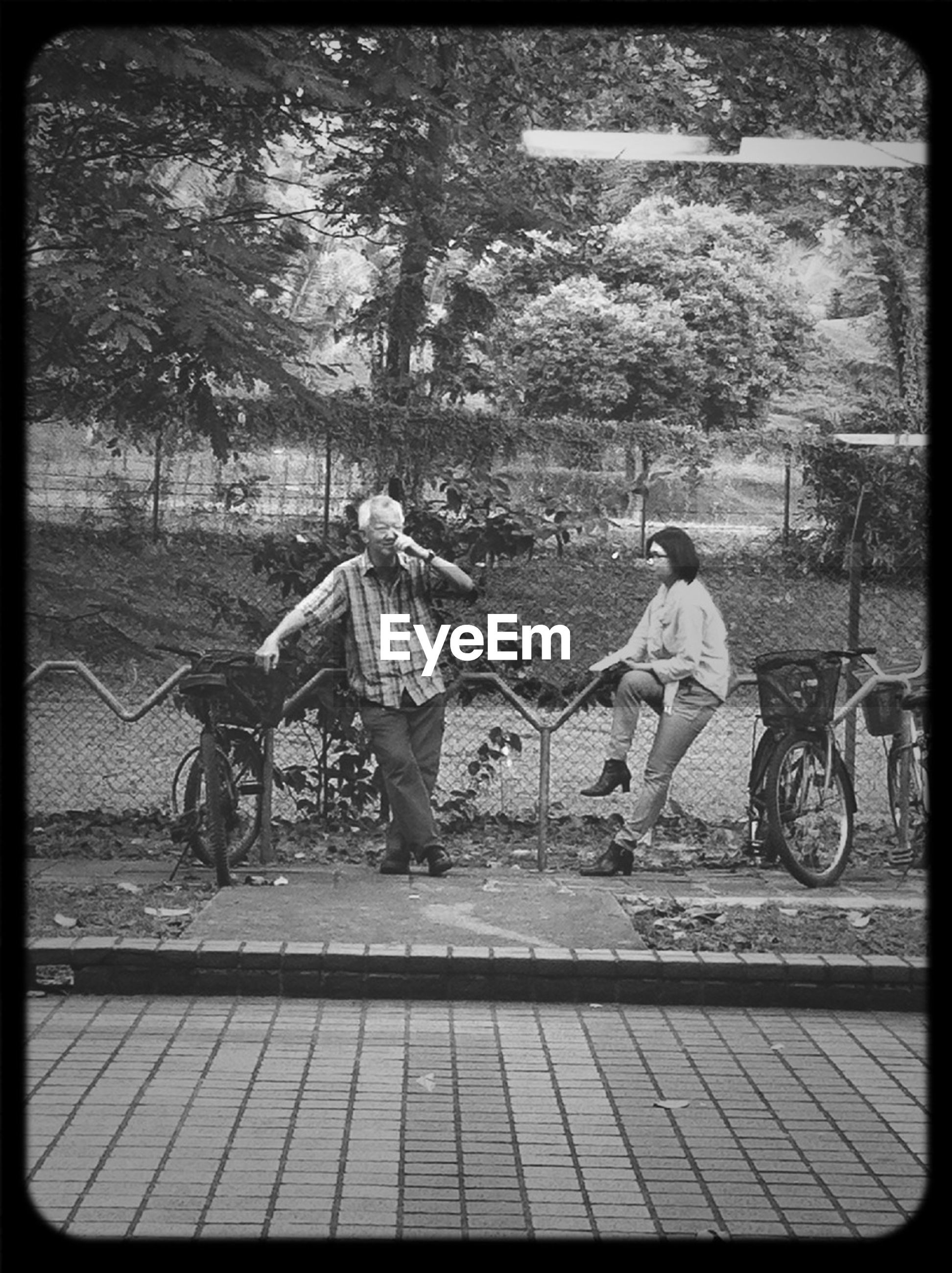transfer print, full length, lifestyles, leisure activity, childhood, auto post production filter, casual clothing, tree, girls, elementary age, boys, rear view, togetherness, bicycle, men, park - man made space, street