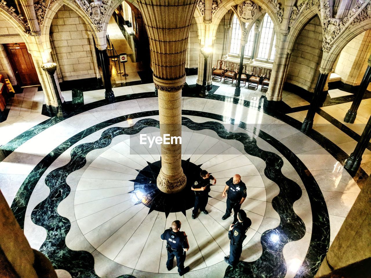 architecture, indoors, tiled floor, architectural column, built structure, real people, day, library