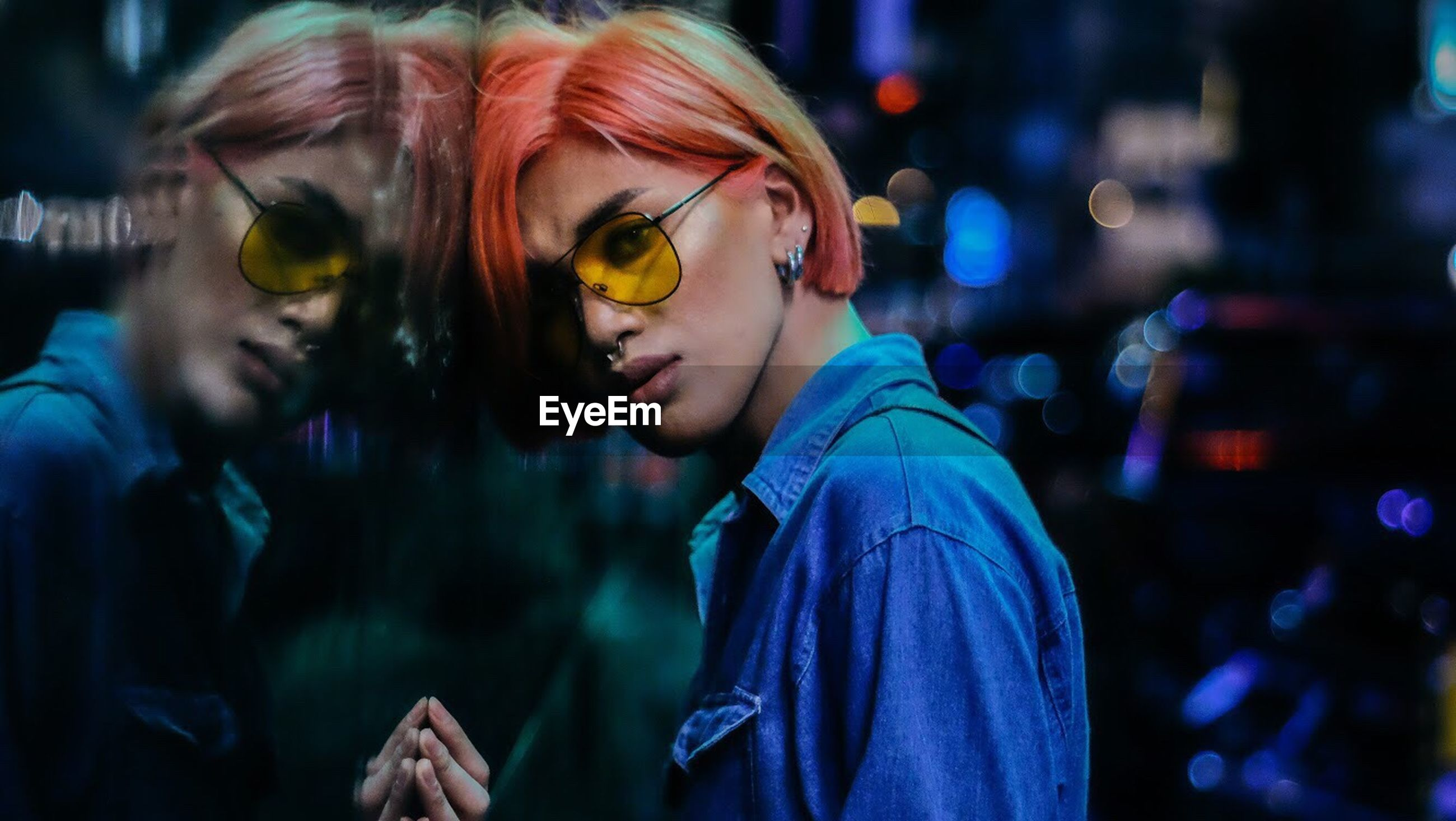 sunglasses, eyeglasses, focus on foreground, togetherness, two people, night, illuminated, outdoors, real people, headshot, standing, young women, young adult, eyewear, nightlife, close-up, friendship, people, adult