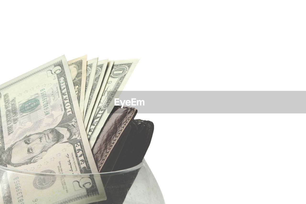paper currency, currency, finance, wealth, white background, no people, savings, studio shot, close-up