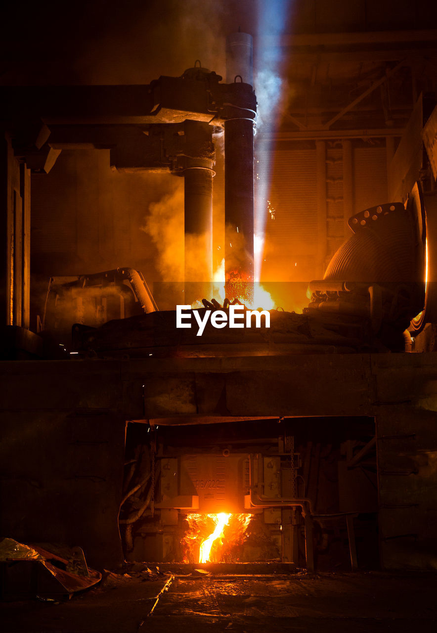 Fire In Furnace At Factory