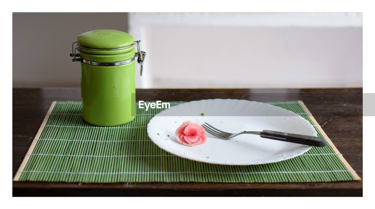 food, food and drink, transfer print, table, eating utensil, kitchen utensil, no people, auto post production filter, freshness, indoors, still life, plate, cake, sweet food, green color, dessert, close-up, spoon, fruit, focus on foreground, temptation, breakfast