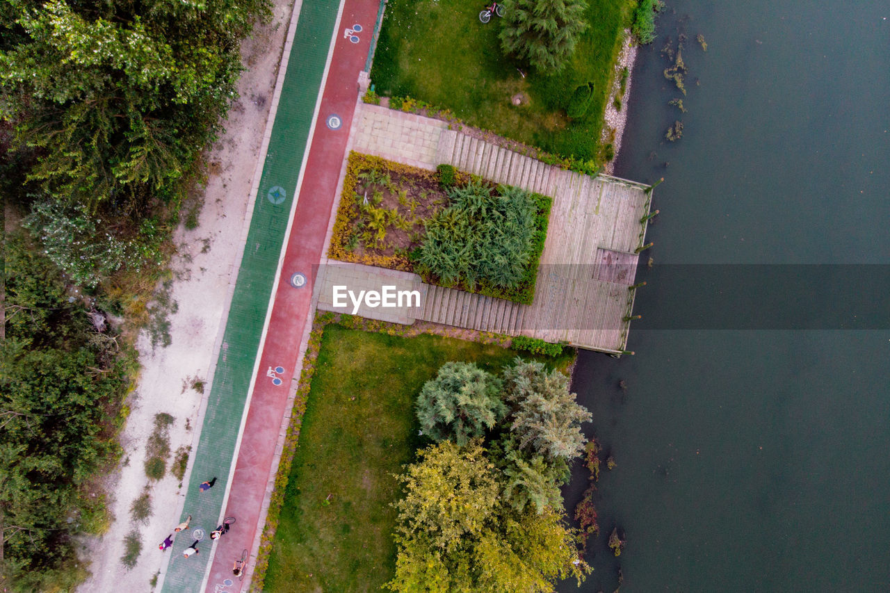 plant, no people, day, green color, high angle view, nature, growth, tree, water, outdoors, road, transportation, tranquility, beauty in nature, grass, directly above, street, aerial view, architecture, hedge