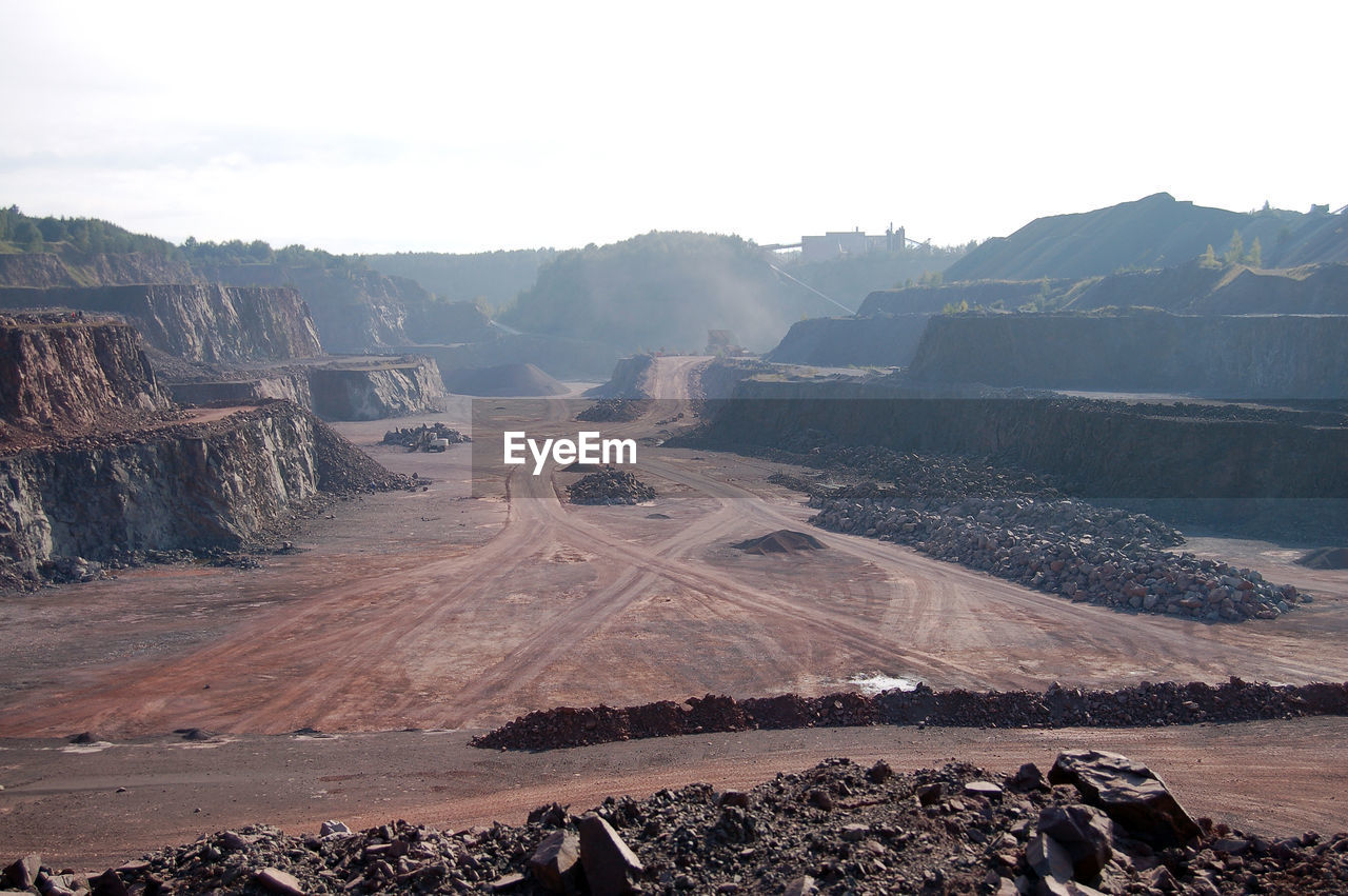 Scenic view of mining landscape against sky