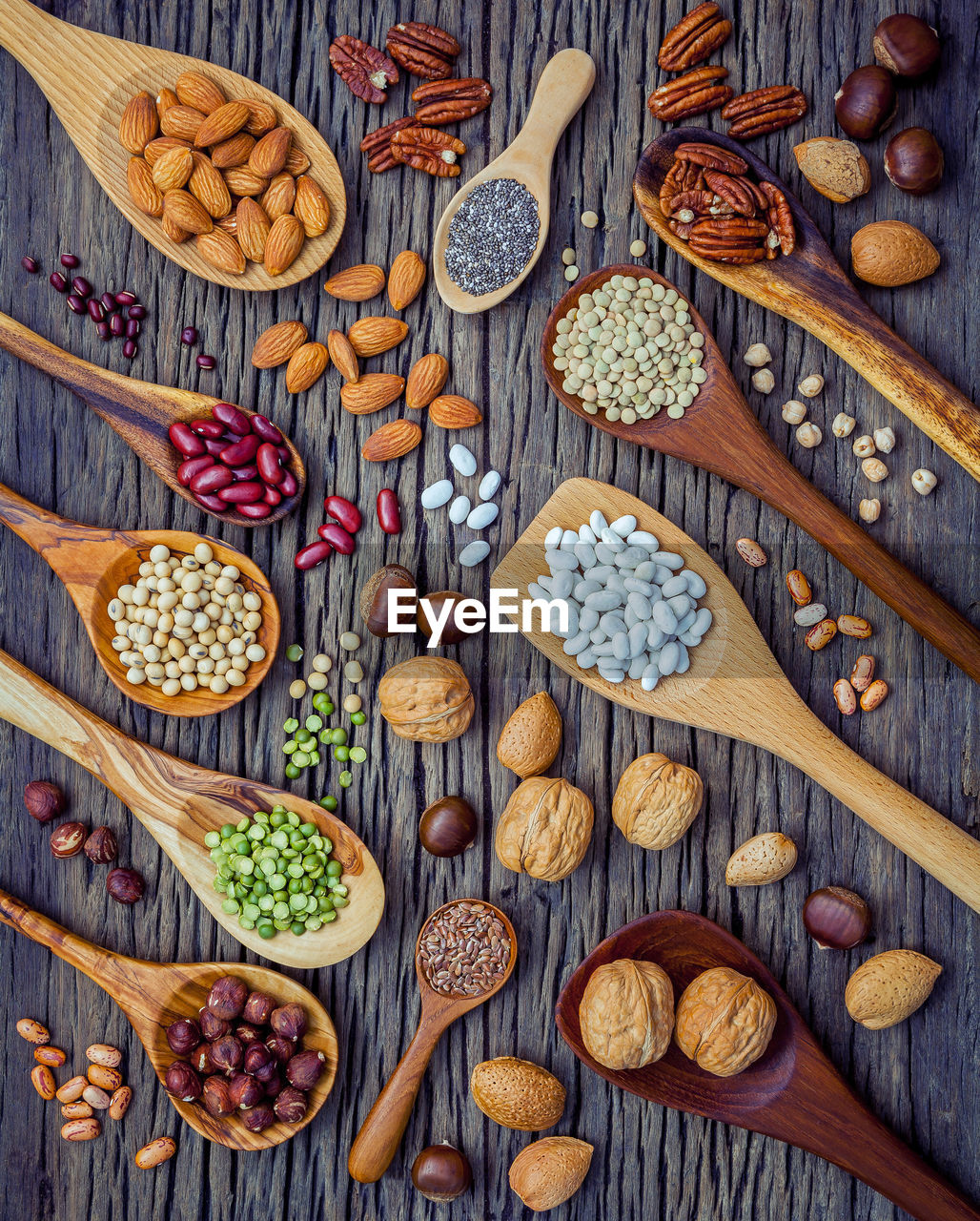 Directly above shot of nuts and pulses
