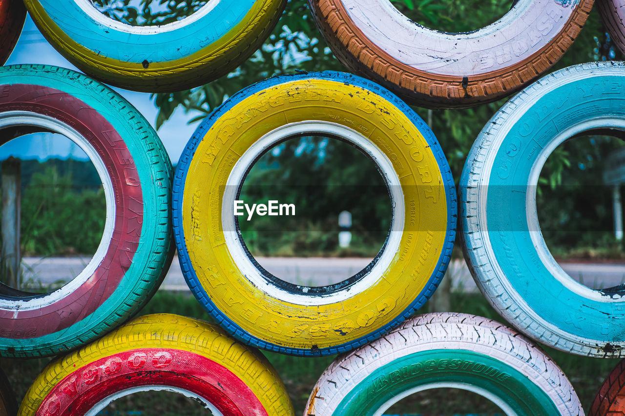 Full Frame Shot Of Multi Colored Tires