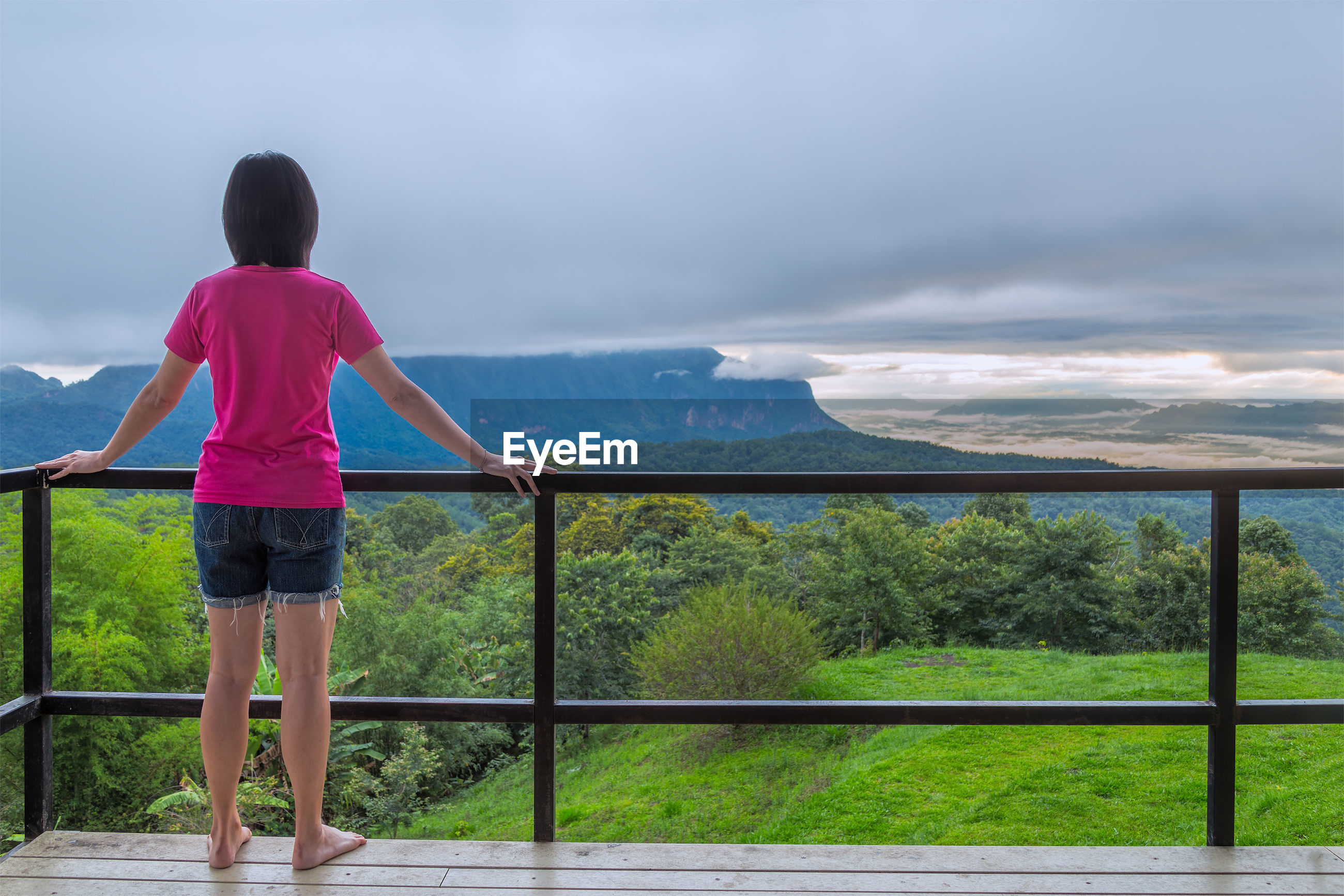 Rear view of woman standing at observation point