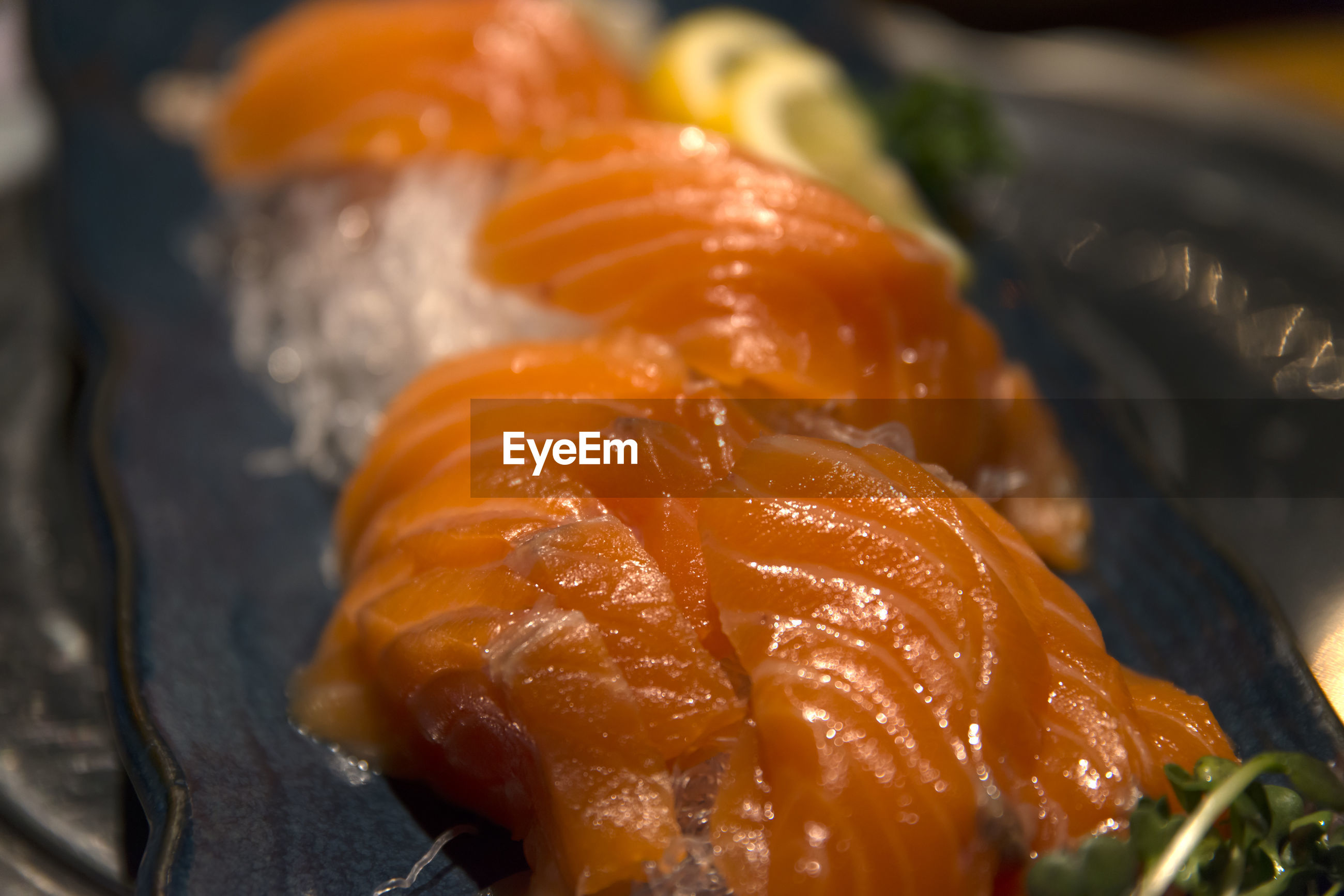 Close-up of salmon in tray