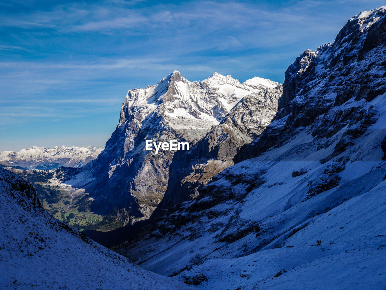 mountain, mountain range, snow, beauty in nature, nature, scenics, tranquil scene, cold temperature, tranquility, snowcapped mountain, majestic, outdoors, winter, sky, blue, day, no people, cloud - sky, landscape