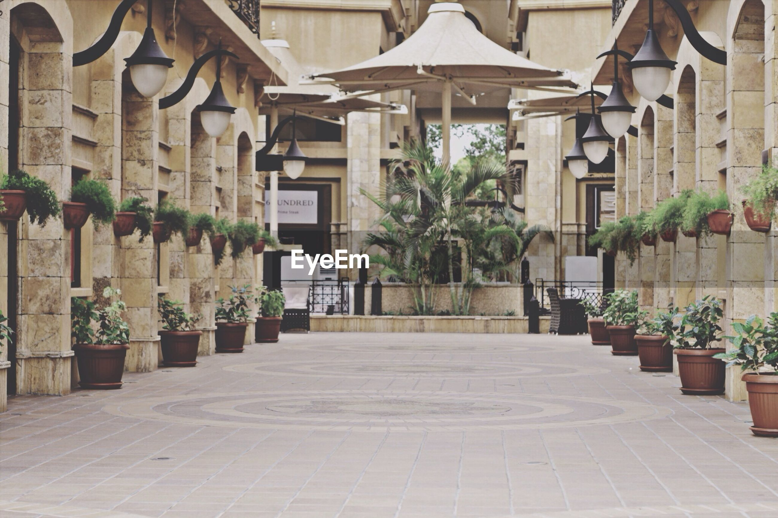 architecture, built structure, building exterior, the way forward, in a row, potted plant, walkway, tiled floor, corridor, architectural column, building, diminishing perspective, cobblestone, footpath, day, incidental people, sunlight, no people, flooring, narrow