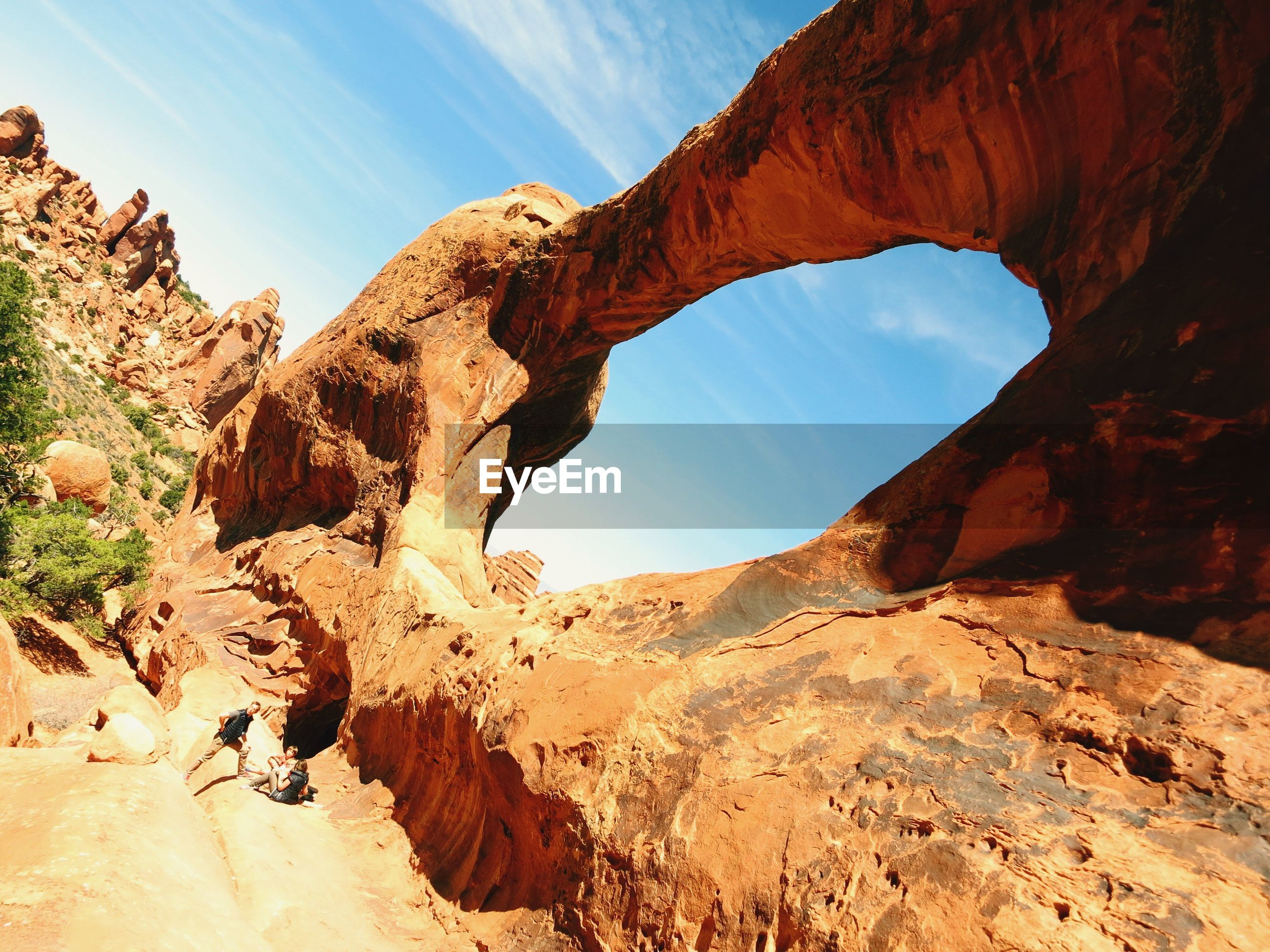 Low angle view of rock formations at arches national park