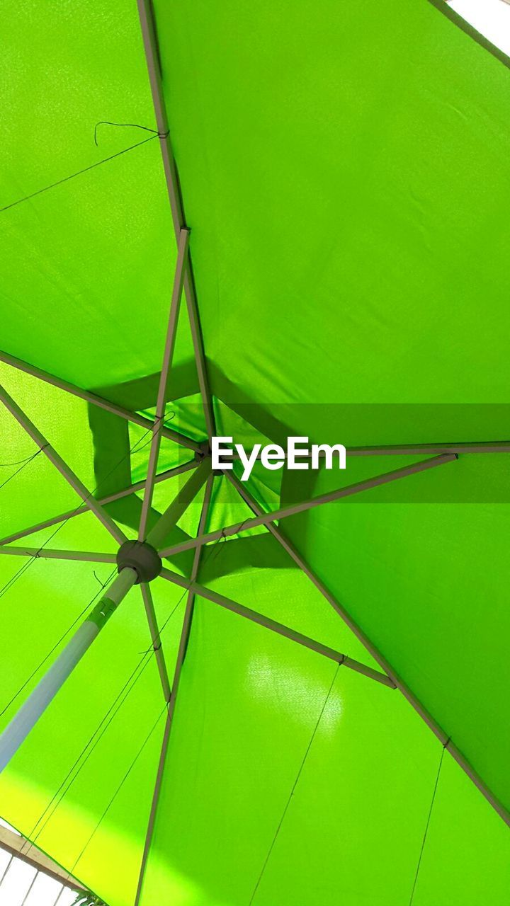 umbrella, shelter, protection, rain, green color, low angle view, full frame, below, summer, no people, close-up, day, nature, outdoors, under