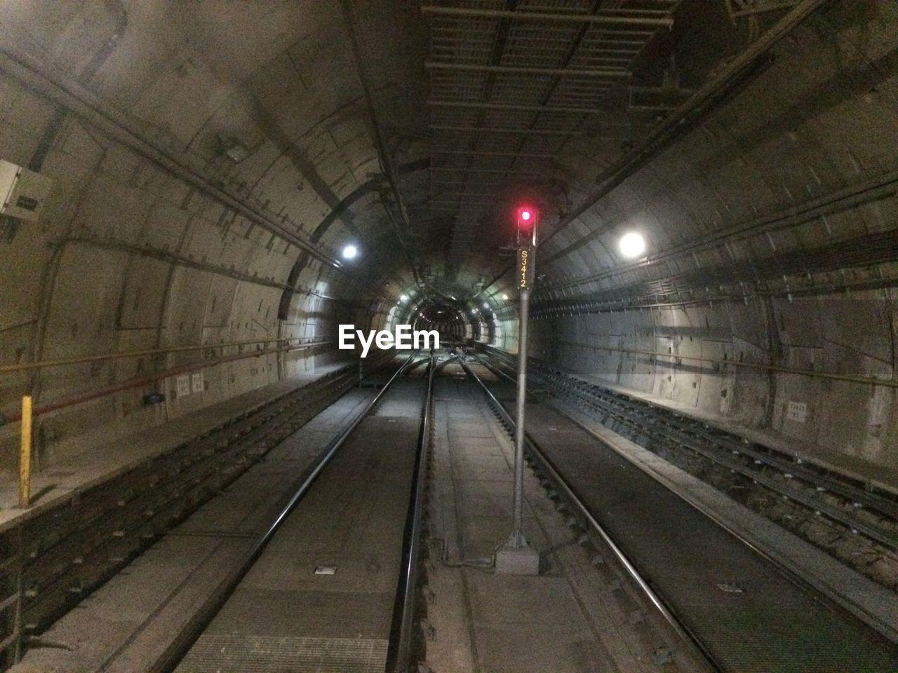 Railroad signal in tunnel