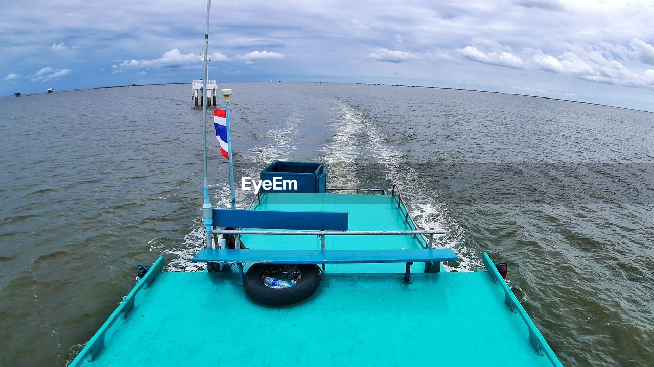 water, sea, nautical vessel, transportation, mode of transportation, sky, cloud - sky, day, beauty in nature, scenics - nature, nature, no people, outdoors, blue, horizon, horizon over water, non-urban scene, high angle view, tranquil scene, inflatable, turquoise colored