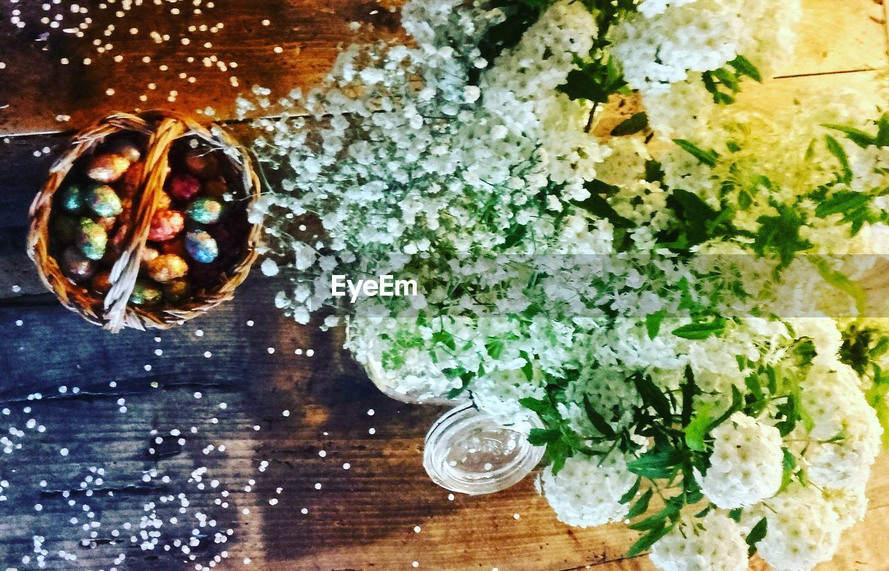 table, food and drink, directly above, indoors, no people, high angle view, close-up, flower, freshness, food, drinking glass, bouquet, ready-to-eat, day