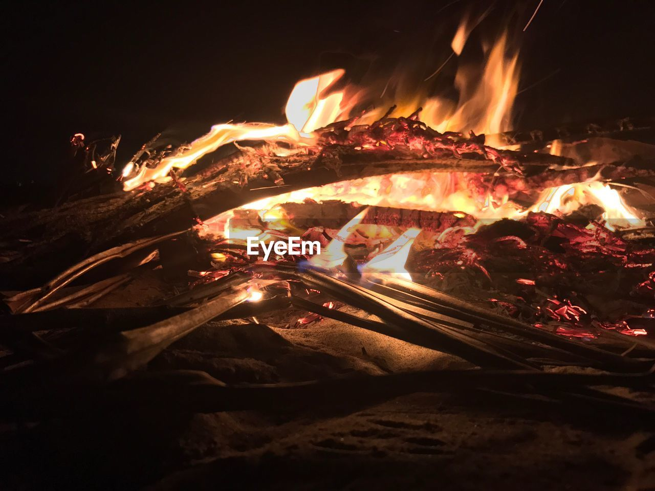 Close-Up Of Campfire At Night