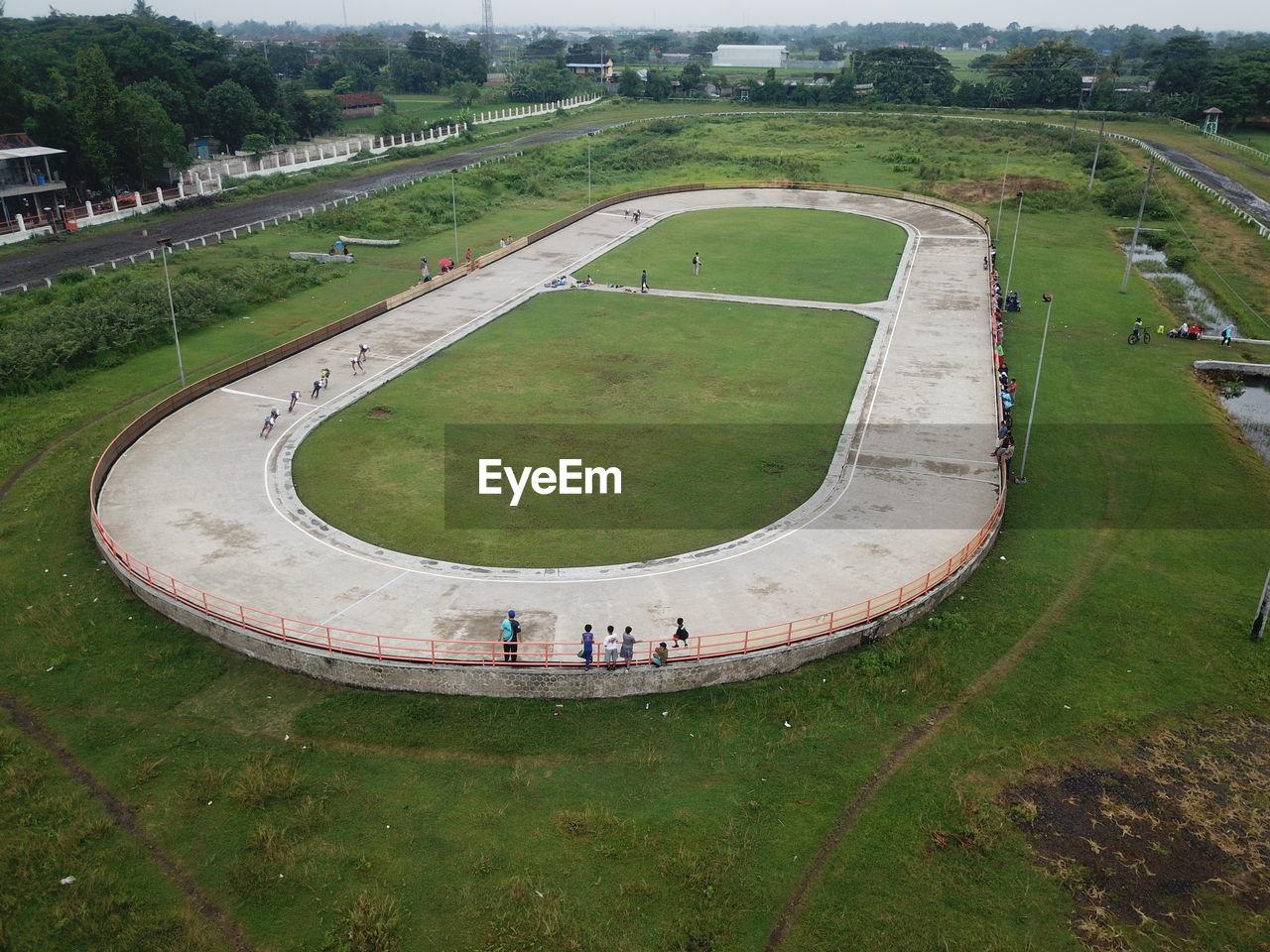 Aerial view, roller skating track in the sultan agung stadium bantul, yogyakarta, indonesia.