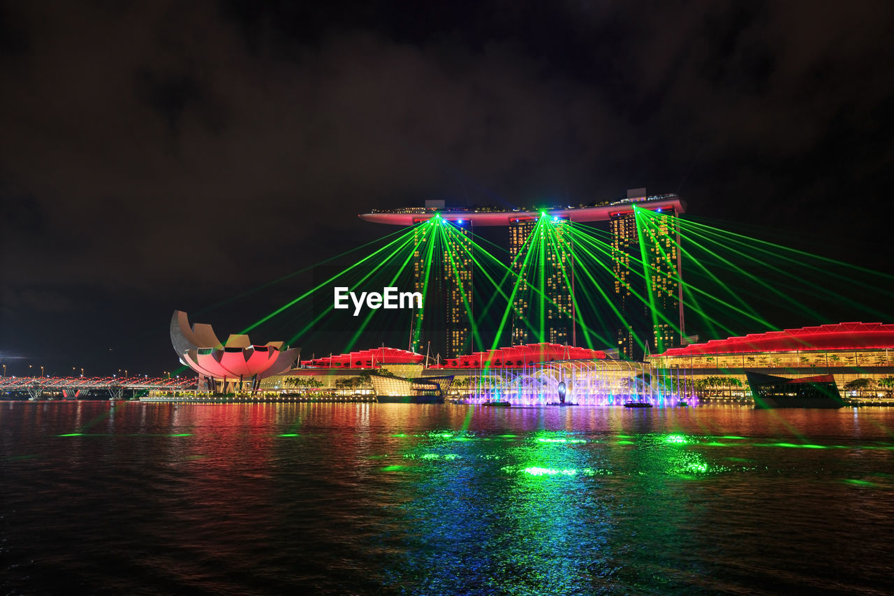 illuminated, night, water, sky, reflection, architecture, waterfront, built structure, river, cloud - sky, no people, bridge, bridge - man made structure, connection, transportation, nature, multi colored, arts culture and entertainment, travel destinations, nightlife