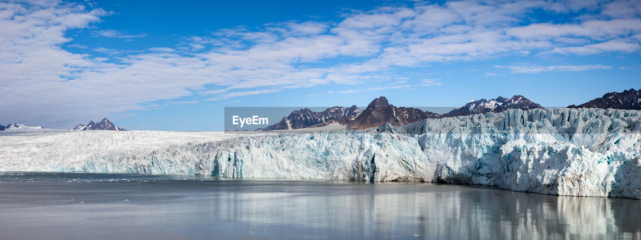 Scenic view of glacier mountains against sky