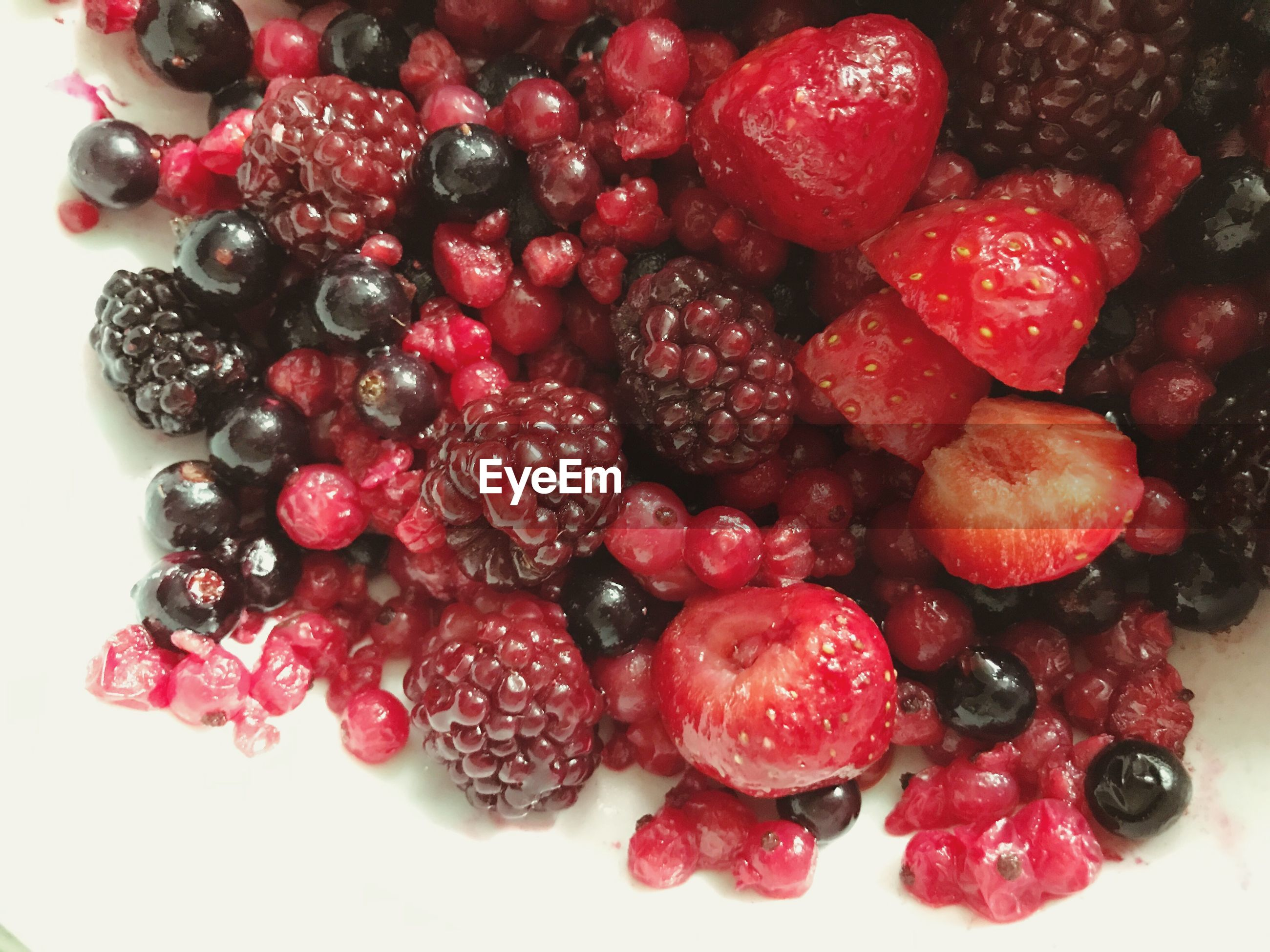 High angle view of berry fruits in bowl