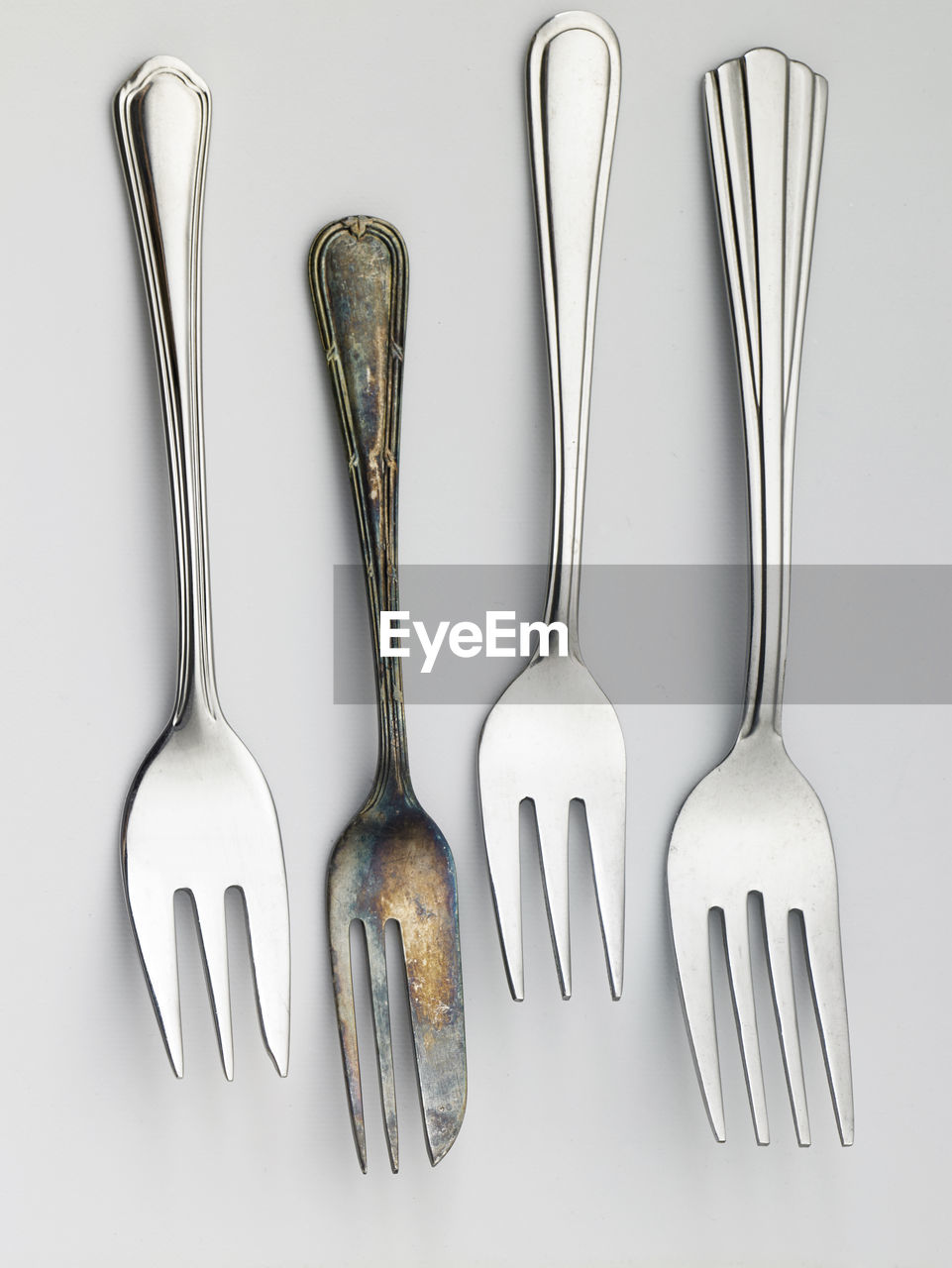 Close-up of fork on white background