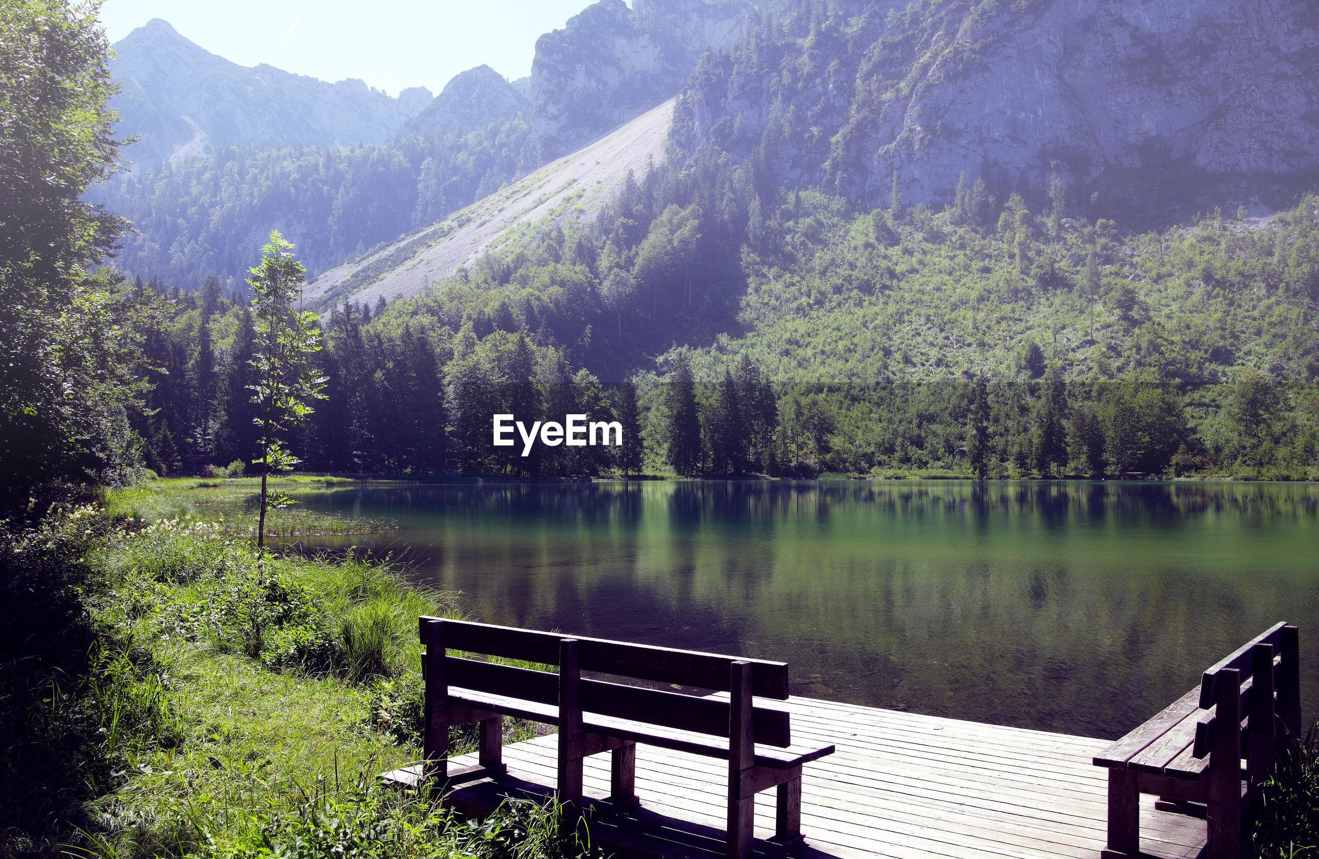 BENCH BY TREES IN LAKE AGAINST MOUNTAIN