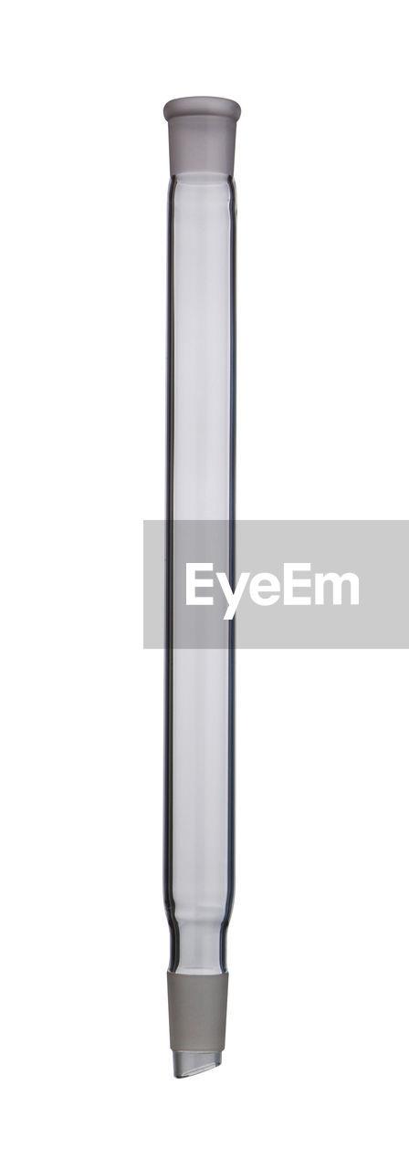 Close up of laboratory glassware over white background