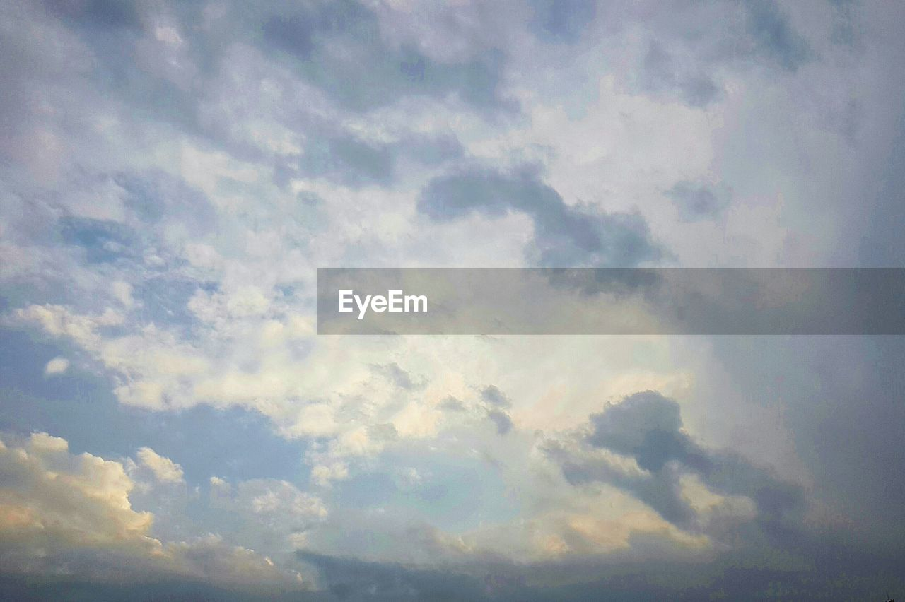 nature, beauty in nature, cloud - sky, sky, low angle view, backgrounds, cloudscape, sky only, tranquility, scenics, full frame, no people, outdoors, tranquil scene, awe, day