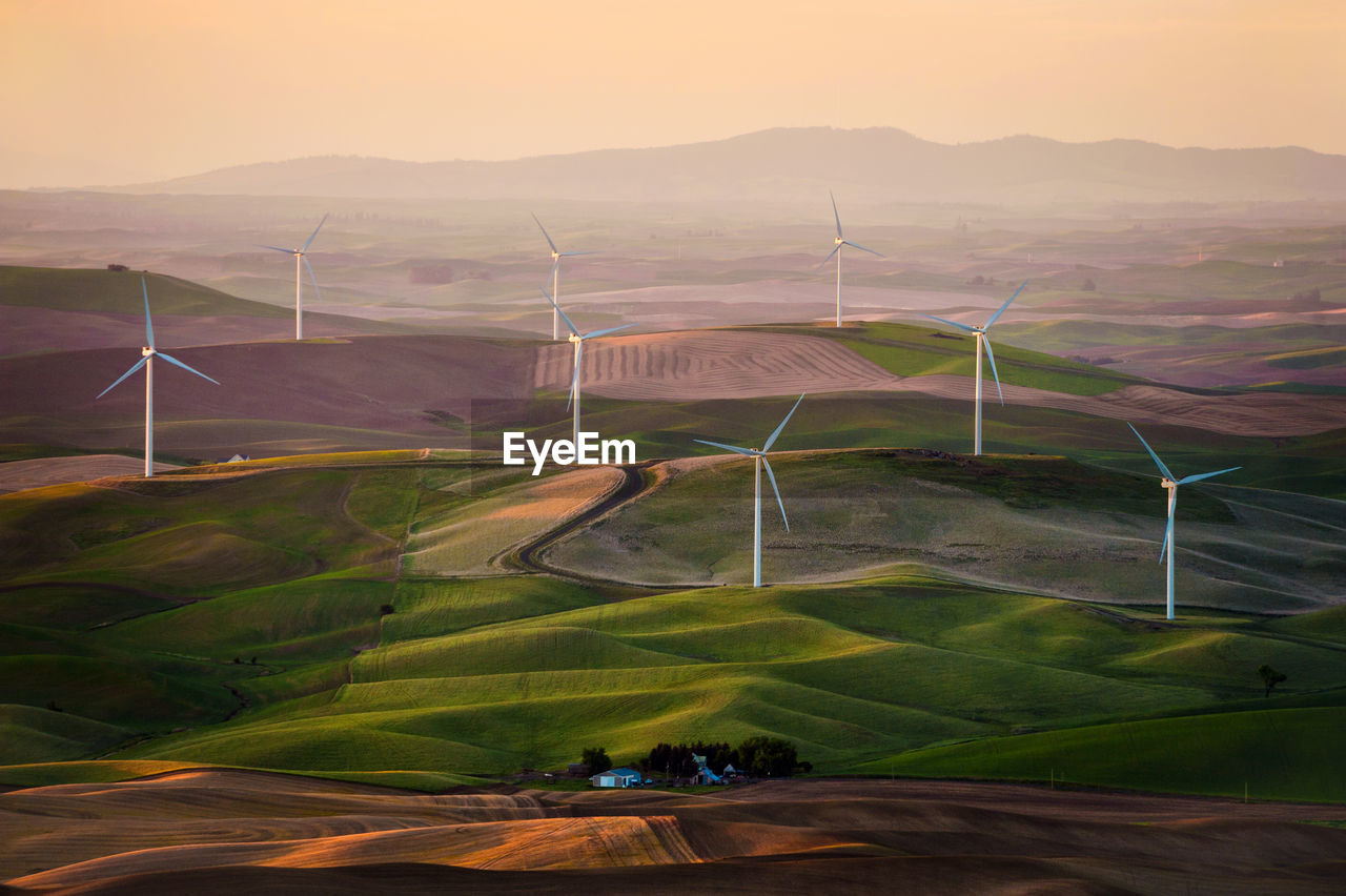 High Angle View Of Wind Turbine Against Clear Sky