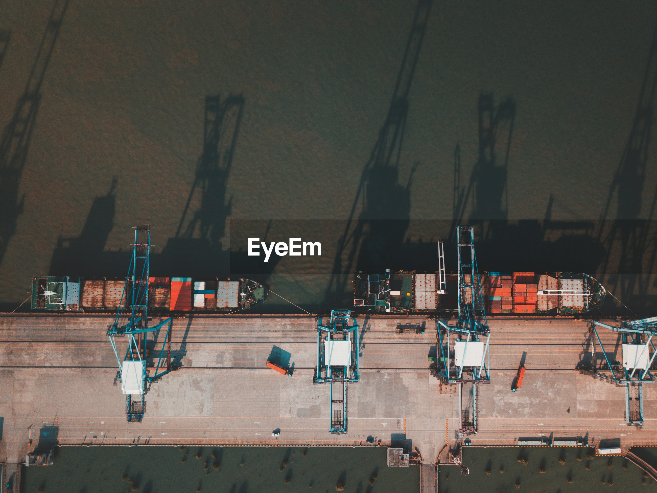 High angle view of freight transportation on sea at port