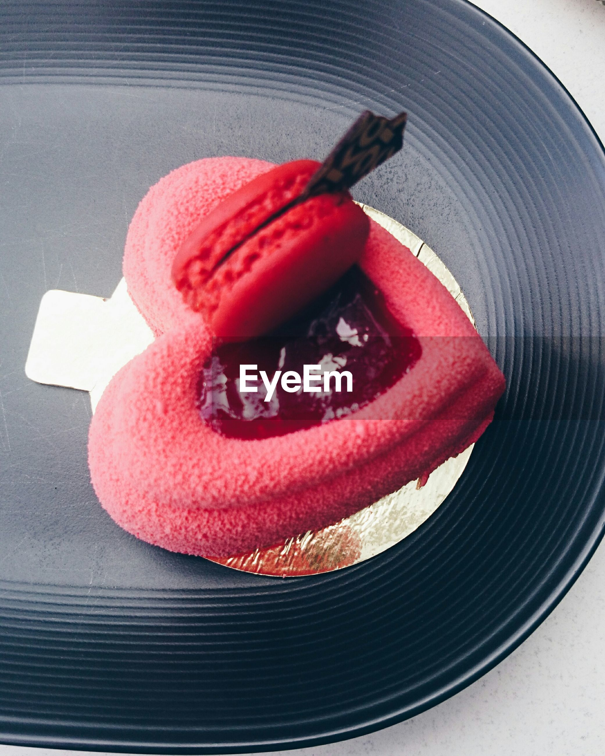 High angle view of dessert served in tray on table