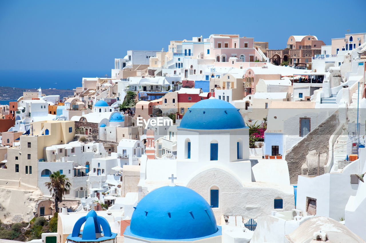 High Angle View Of Church At Oia Town In Santorini