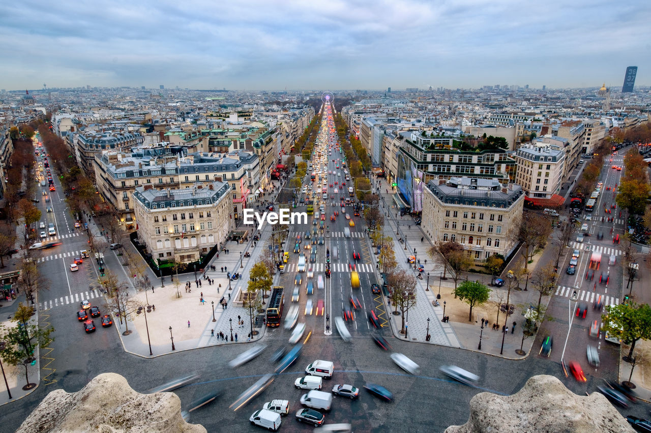 High Angle View Of Paris Cityscape