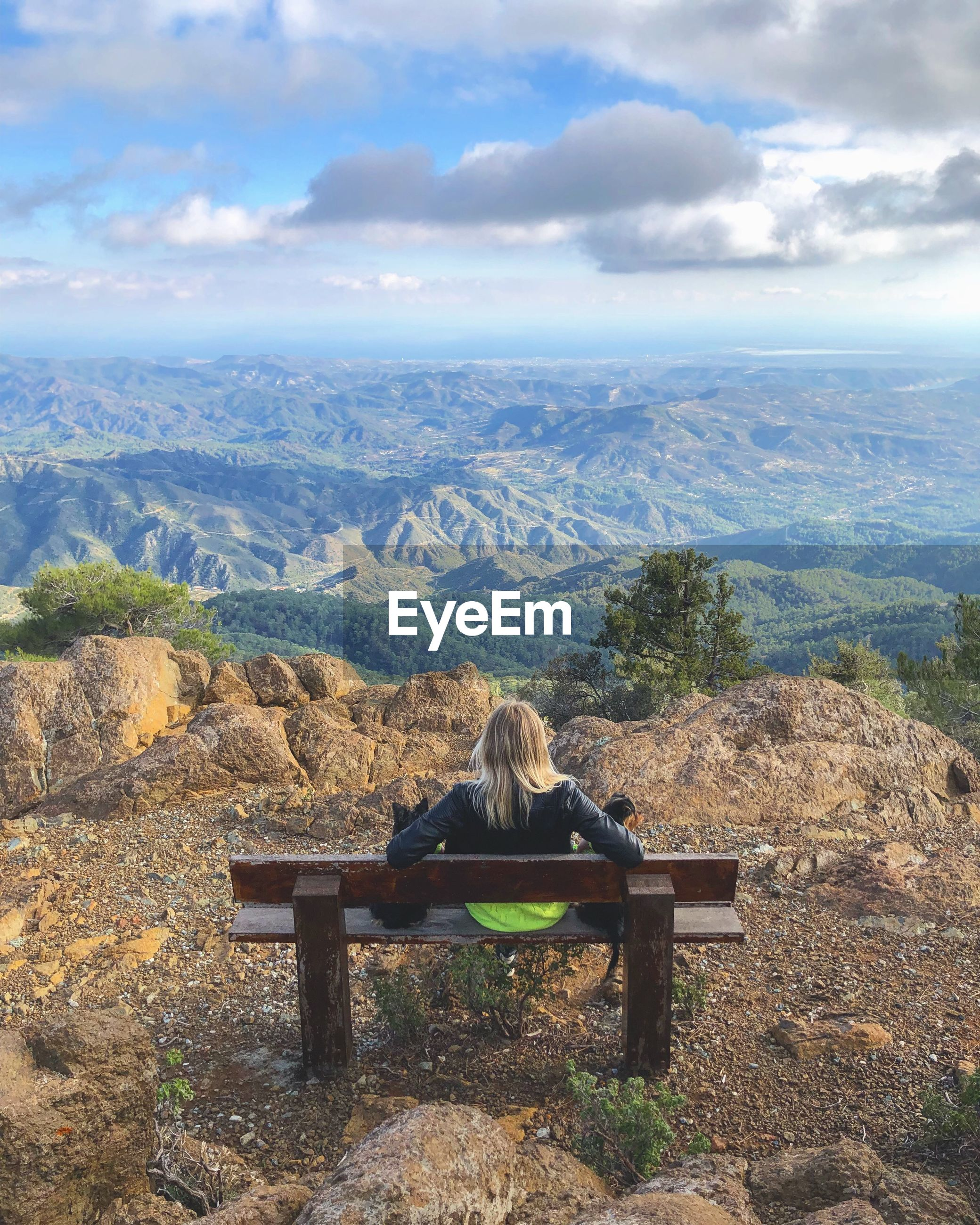 Rear view of woman looking at landscape while sitting on bench against sky