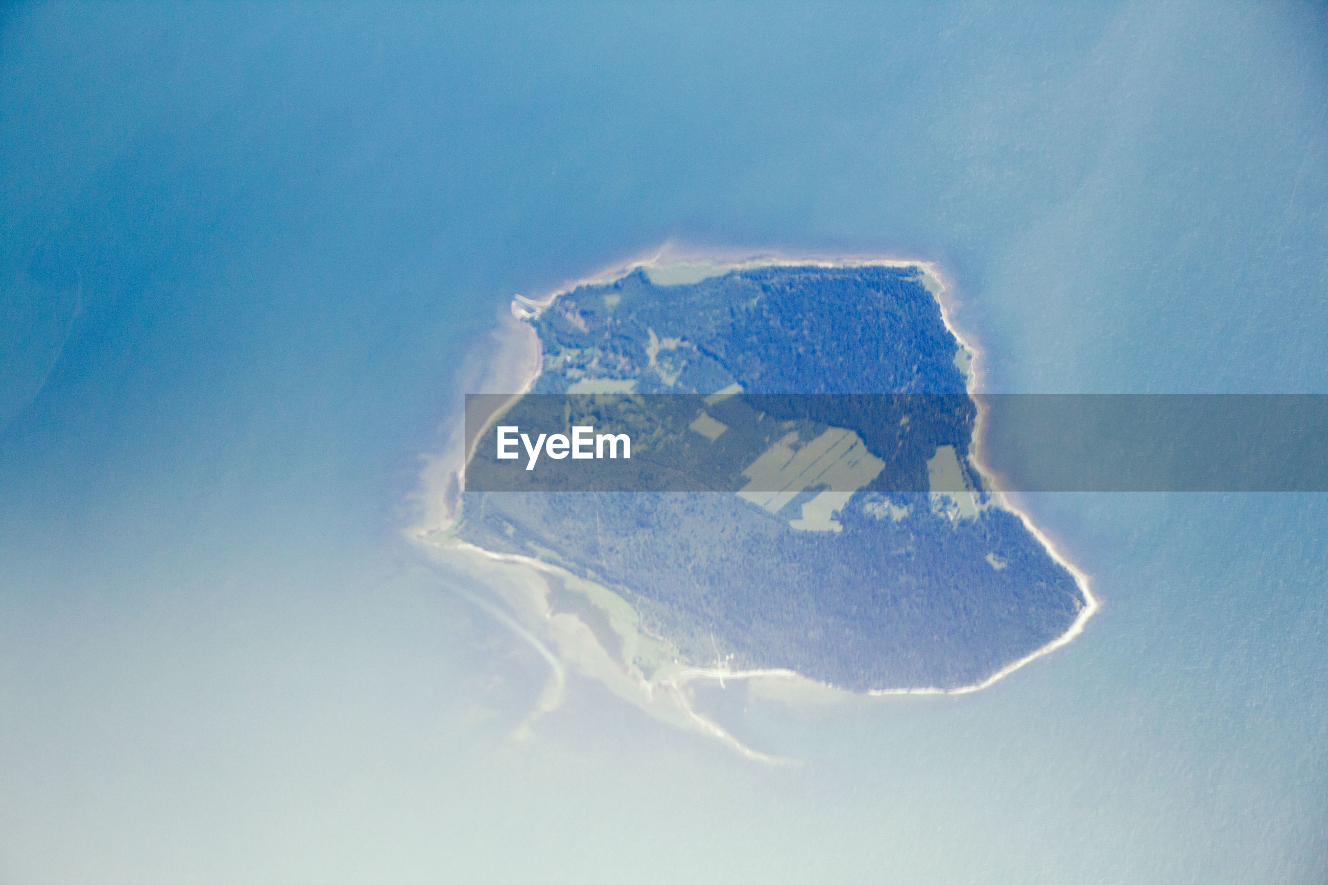 Aerial view of island from above