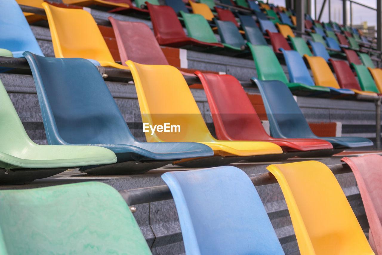 Full Frame Shot Of Stadium Seats