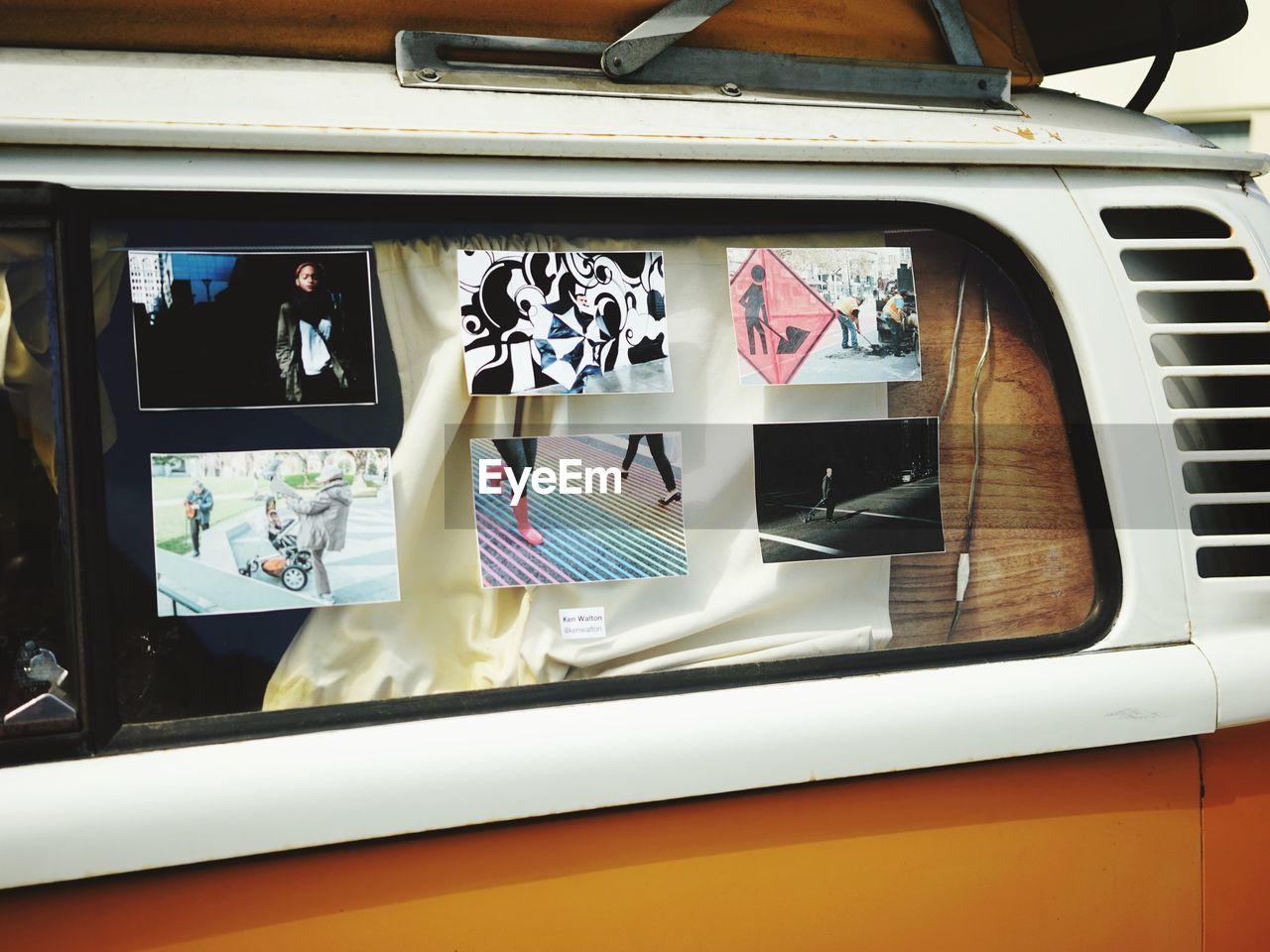 Posters on vehicle window
