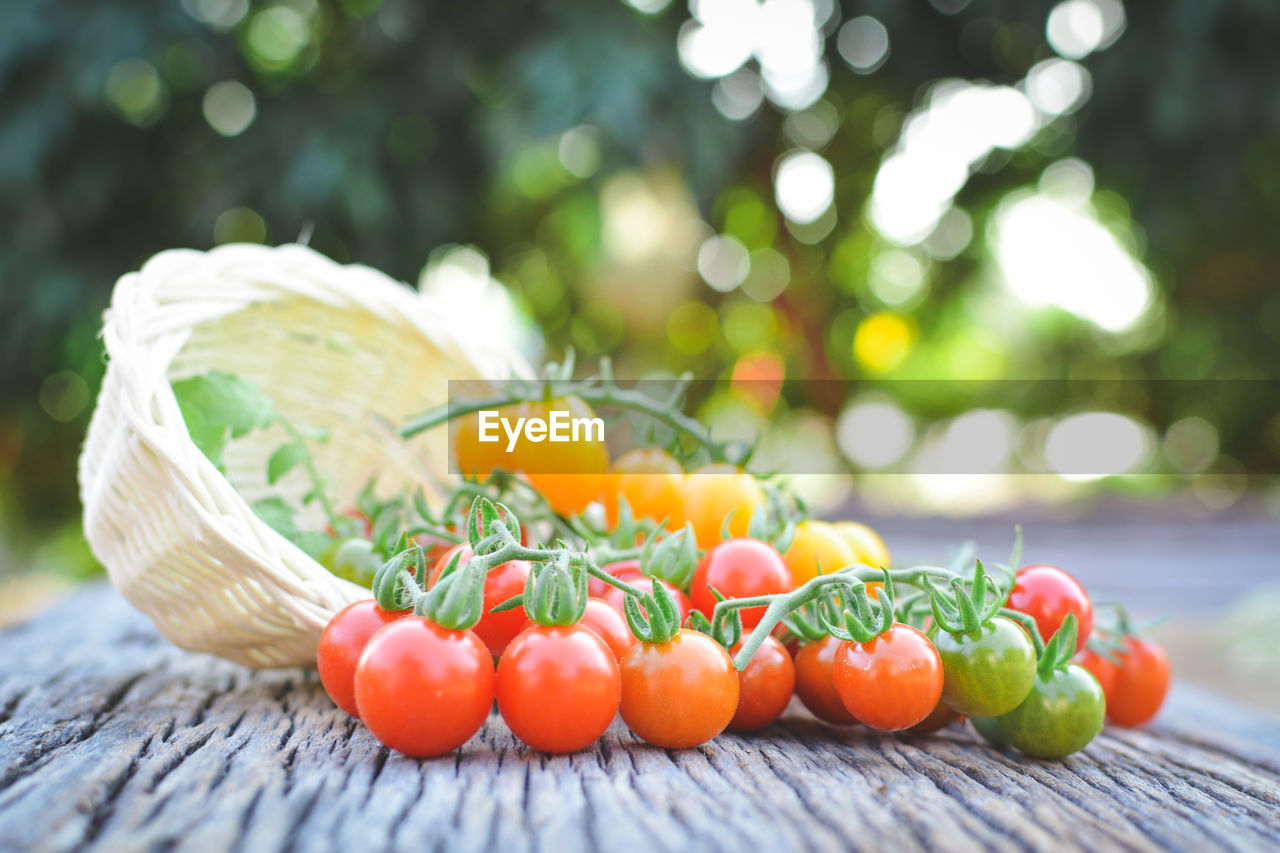 Close-Up Of Cherry Tomatoes And Wicker Basket On Table