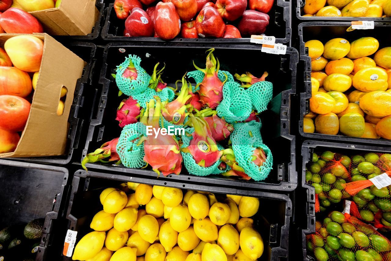 High Angle View Of Fruits In Crates For Sale At Market