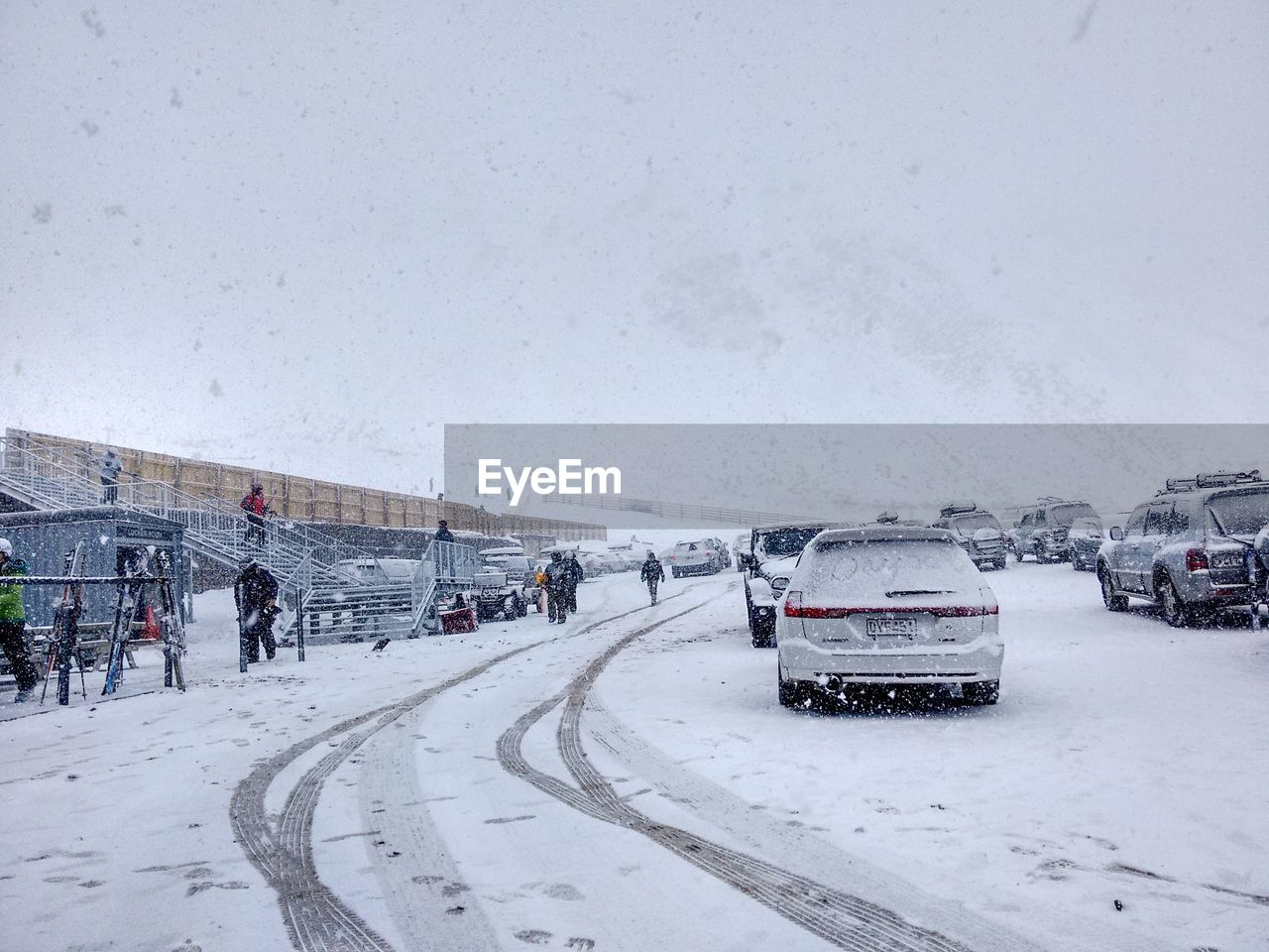 cold temperature, snow, winter, transportation, land vehicle, car, motor vehicle, mode of transportation, road, nature, day, city, sky, architecture, covering, street, white color, snowing, built structure, outdoors, extreme weather, blizzard