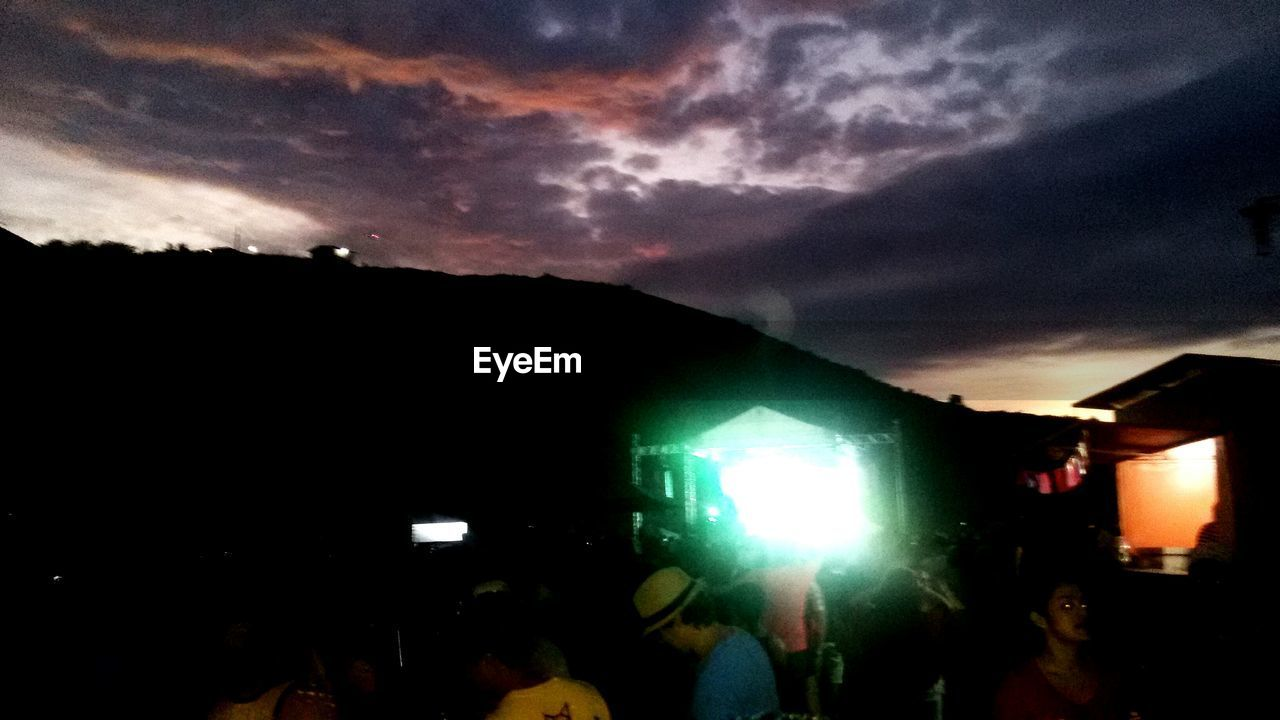 illuminated, night, sky, outdoors, sunset, nature, crowd, people