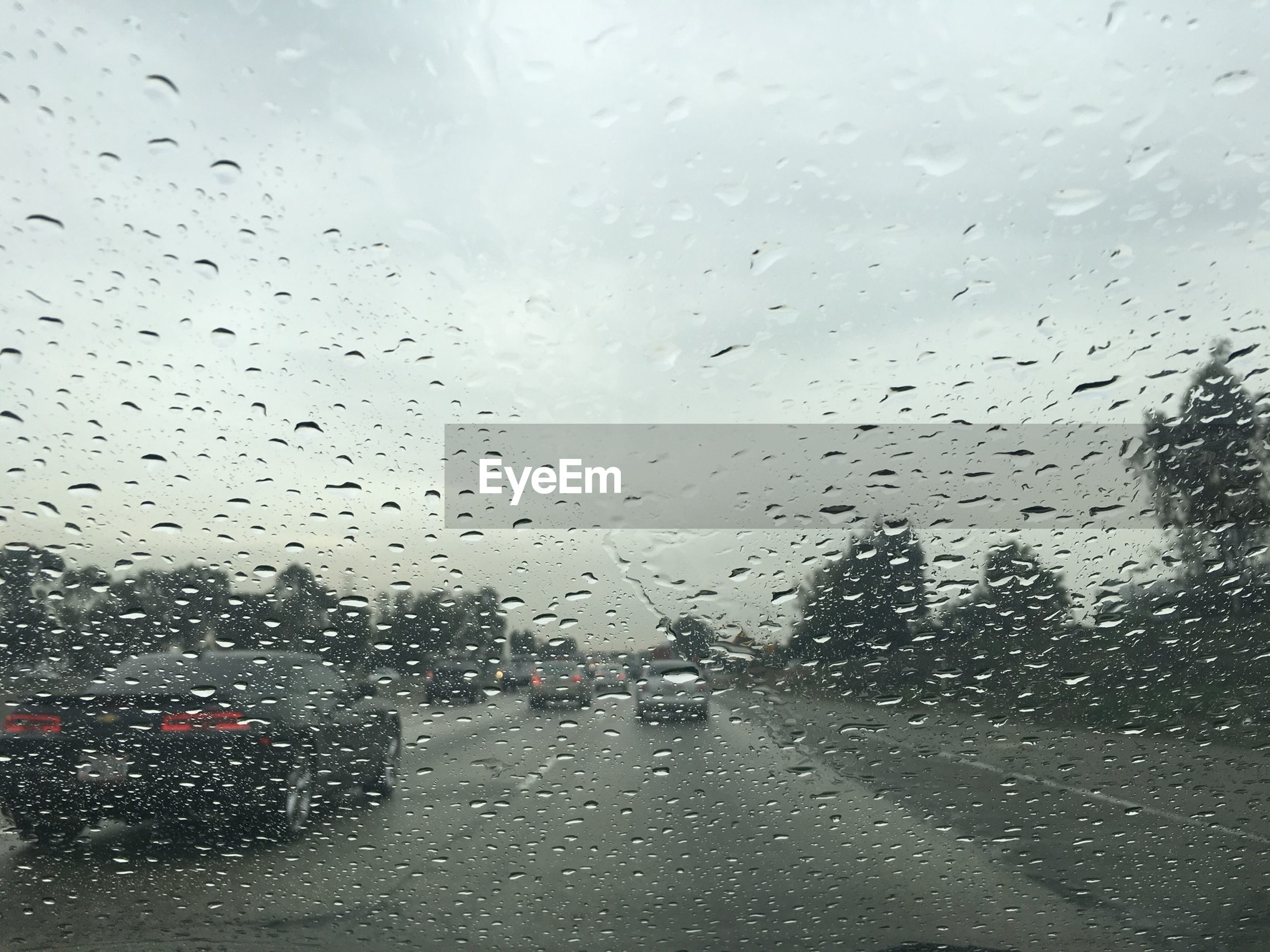 Close-up of wet windshield during rainy season against sky